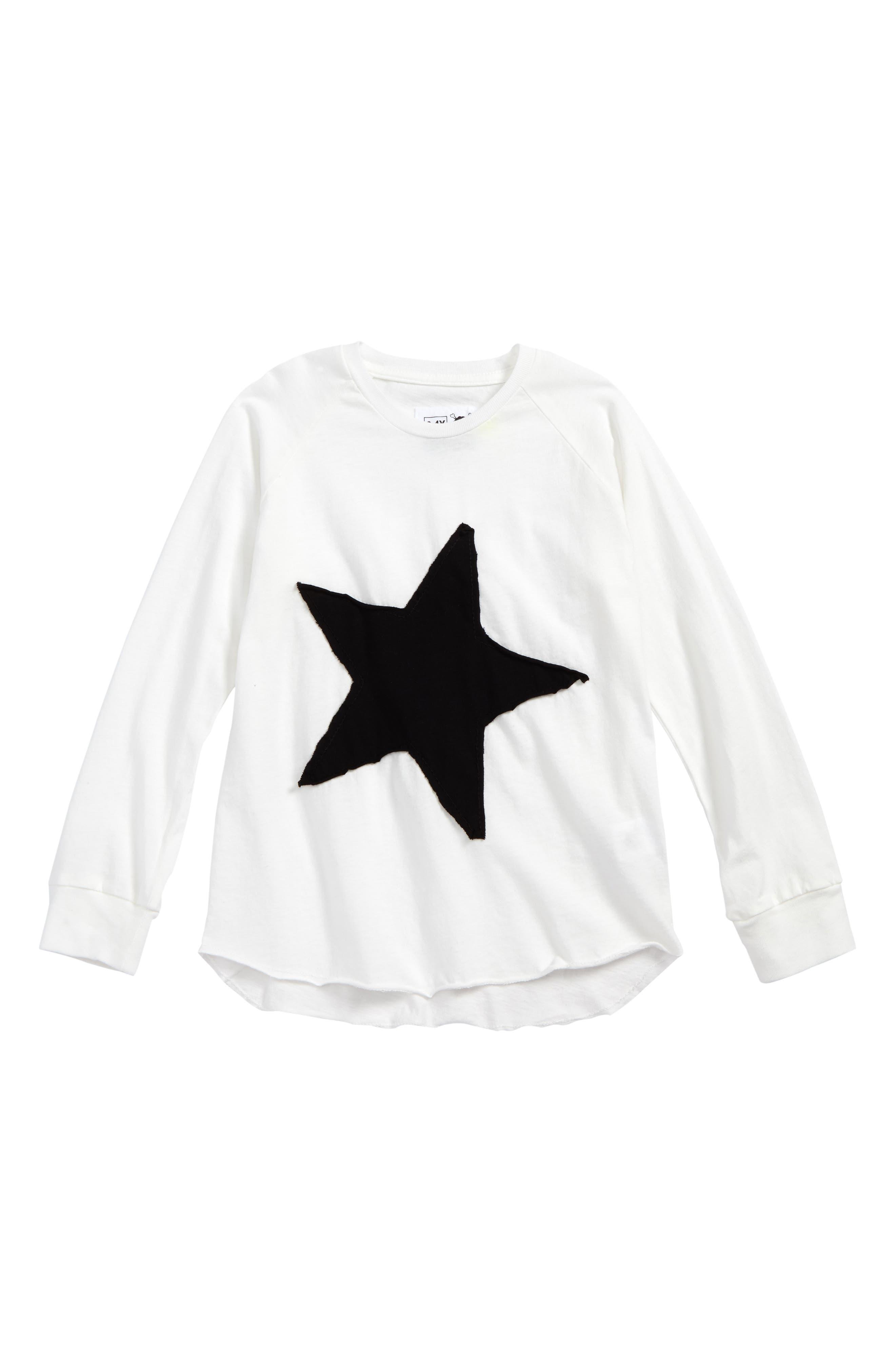 Alternate Image 1 Selected - NUNUNU Star Patch Tee (Toddler Girls & Little Girls)