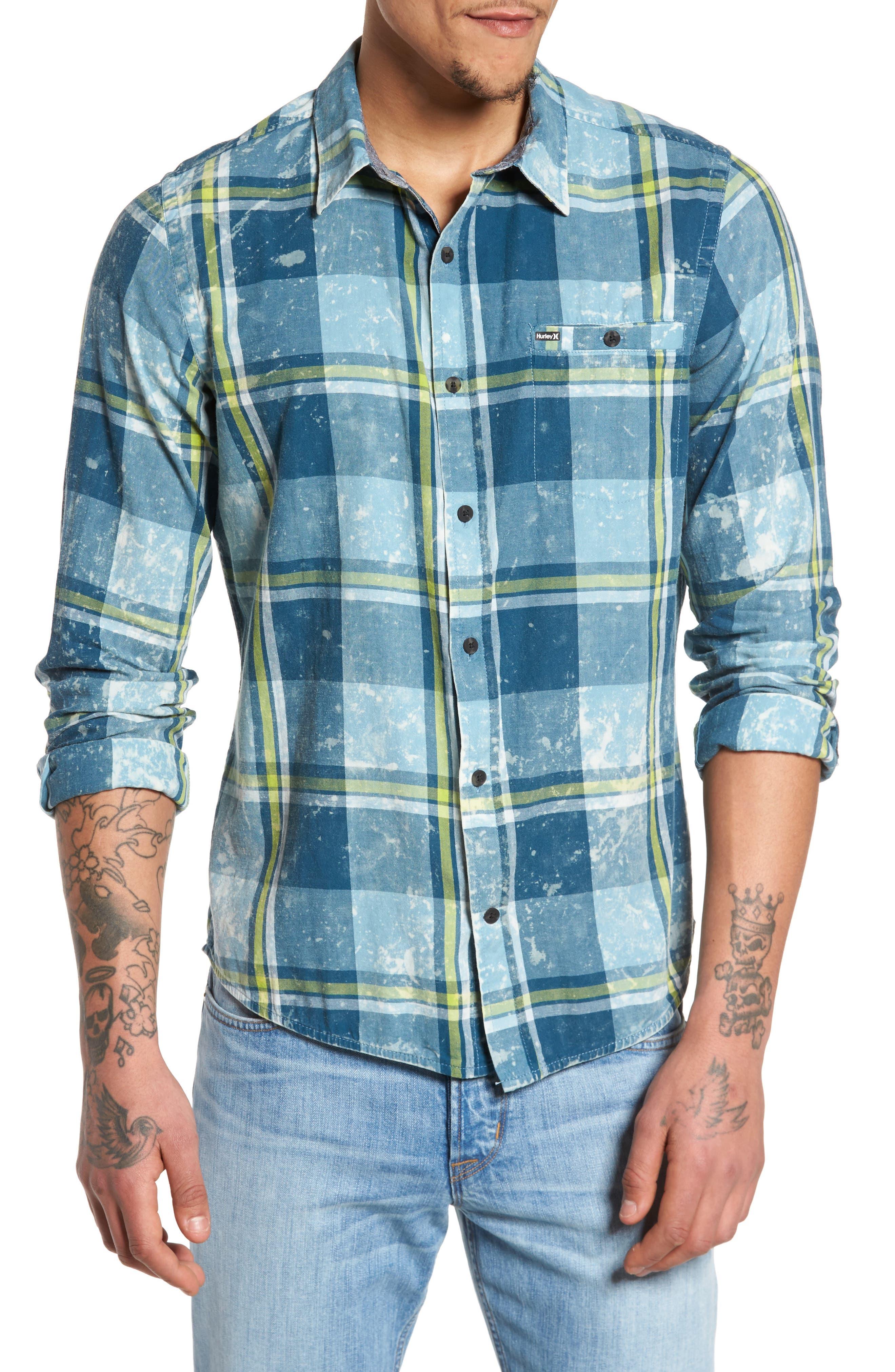 Burnside Plaid Shirt,                         Main,                         color, Space Blue