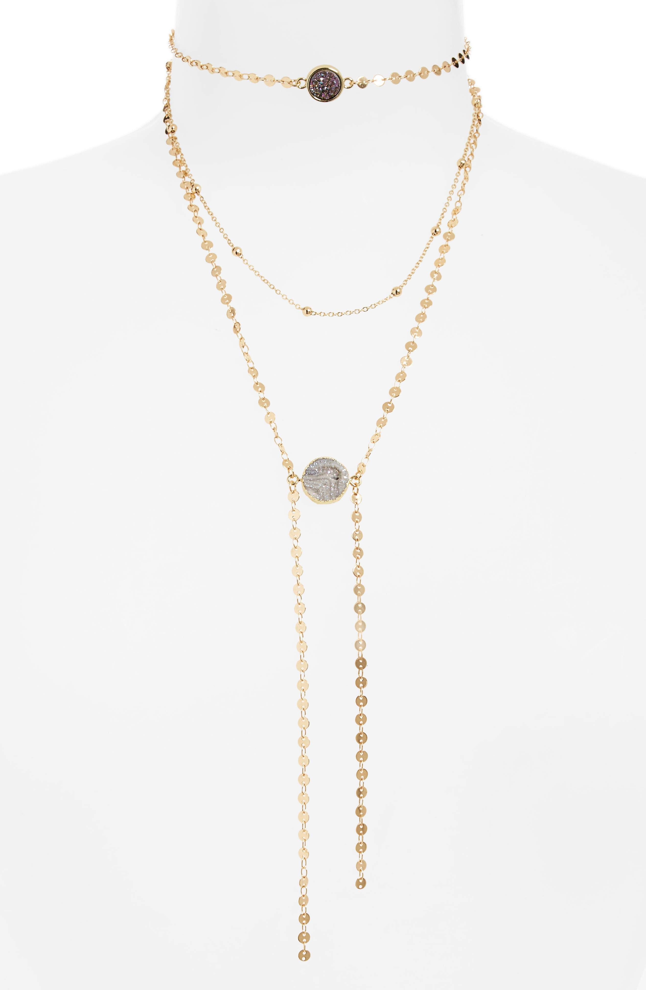 Layered Choker Necklace,                             Main thumbnail 1, color,                             Gray