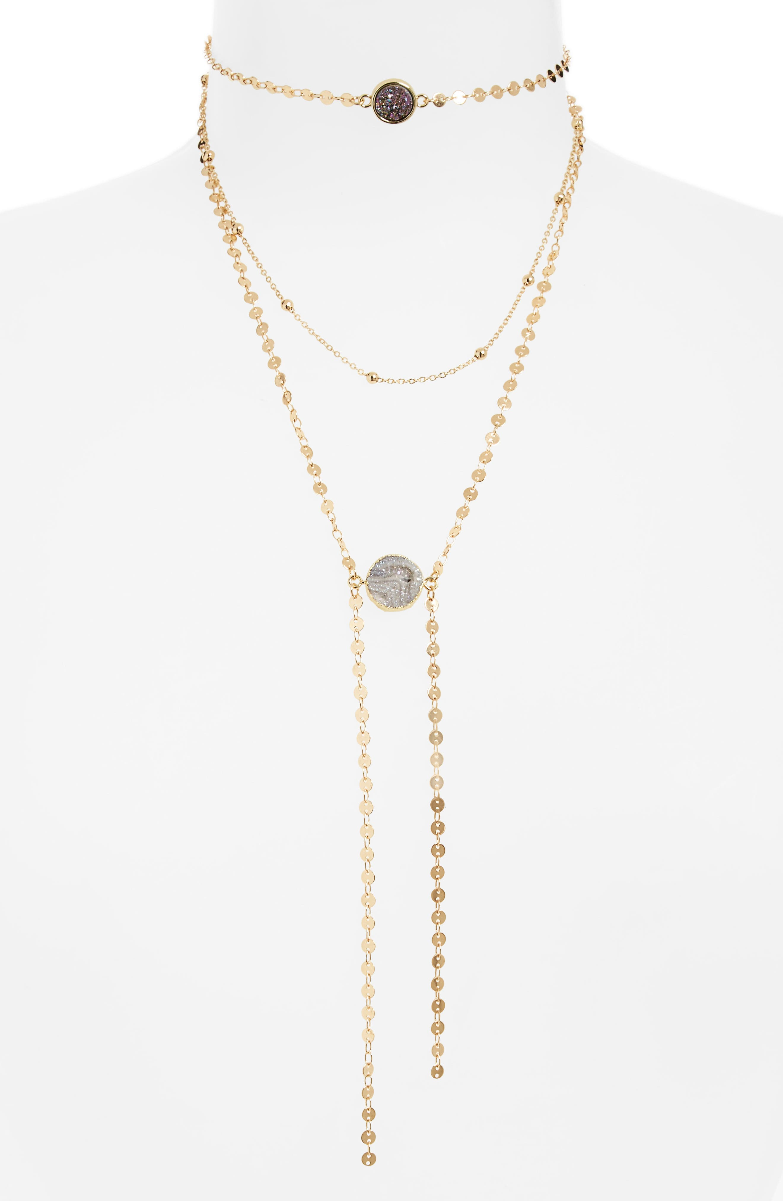 Layered Choker Necklace,                         Main,                         color, Gray