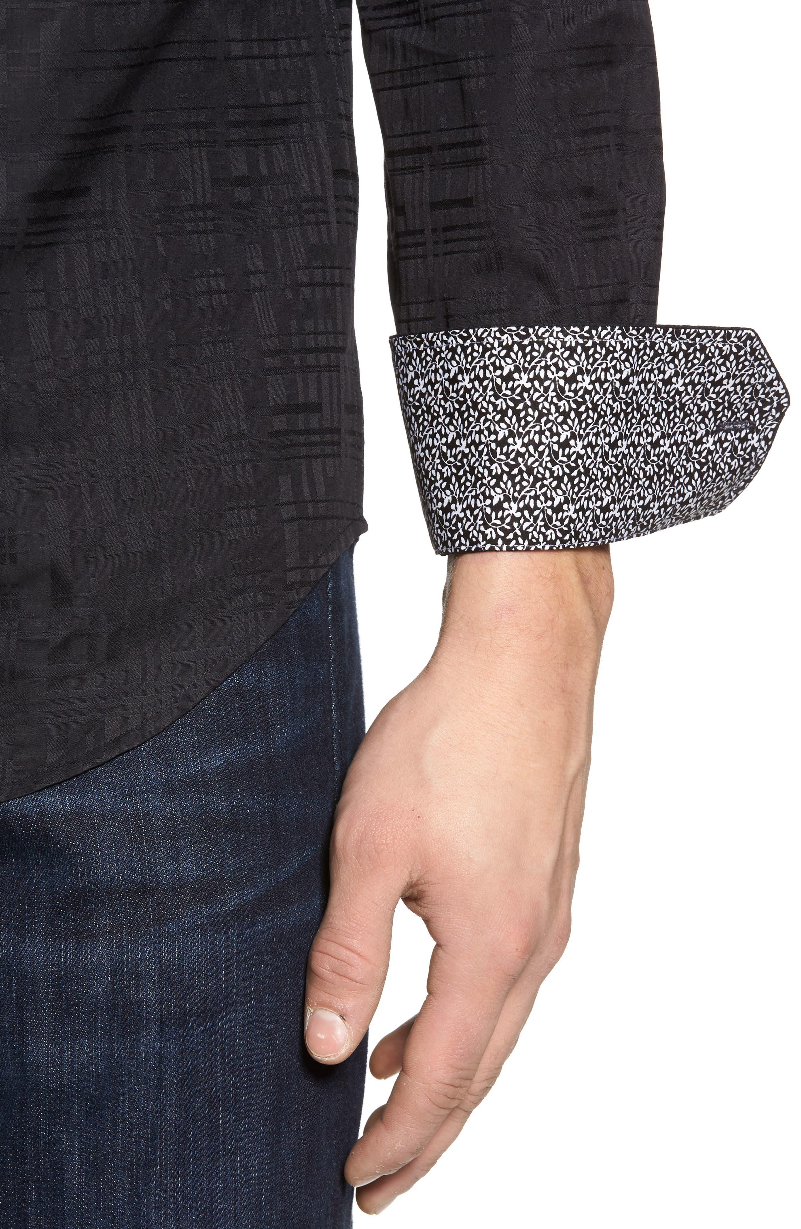 Shaped Fit Tonal Print Sport Shirt,                             Alternate thumbnail 4, color,                             Black