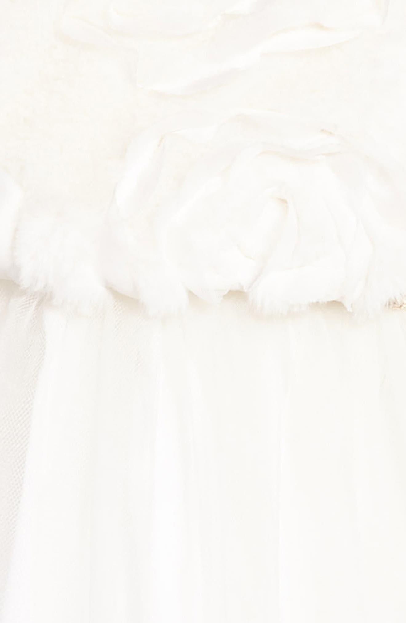 Faux Fur Jacket & Dress Set,                             Alternate thumbnail 4, color,                             Off White