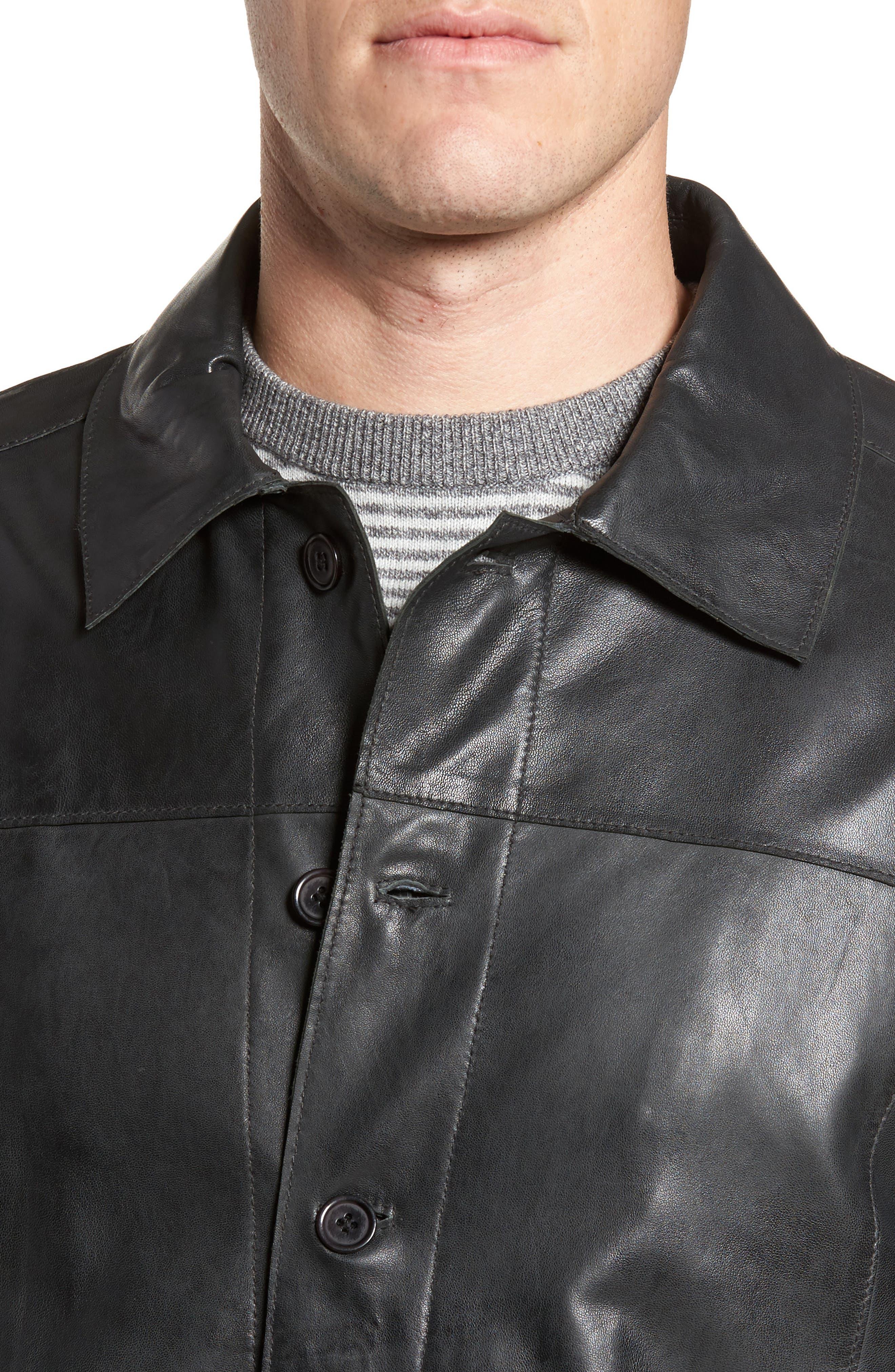 Vintage Leather Sport Coat,                             Alternate thumbnail 4, color,                             Black