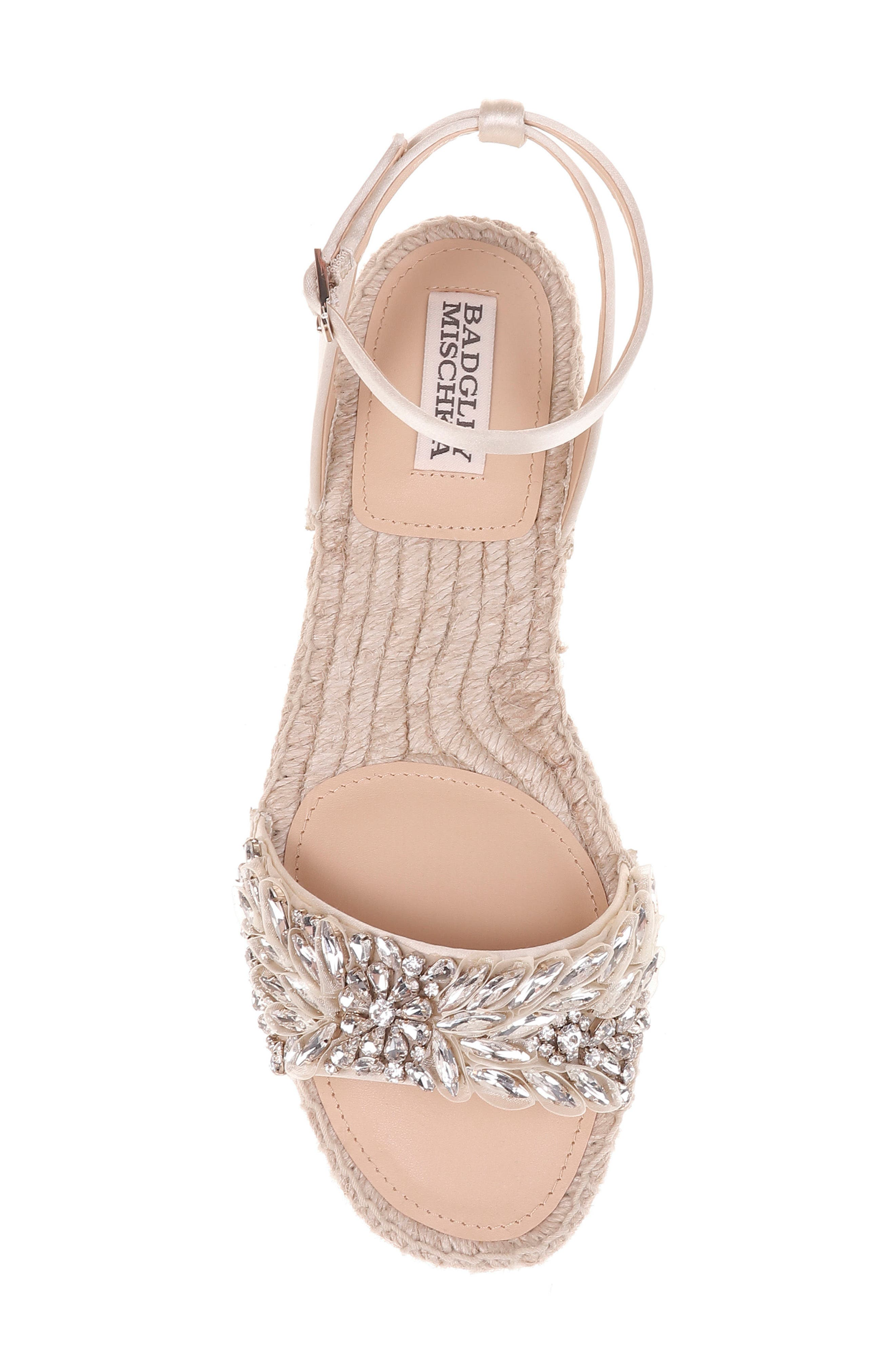 Satine Espadrille Sandal,                             Alternate thumbnail 5, color,                             Ivory Satin
