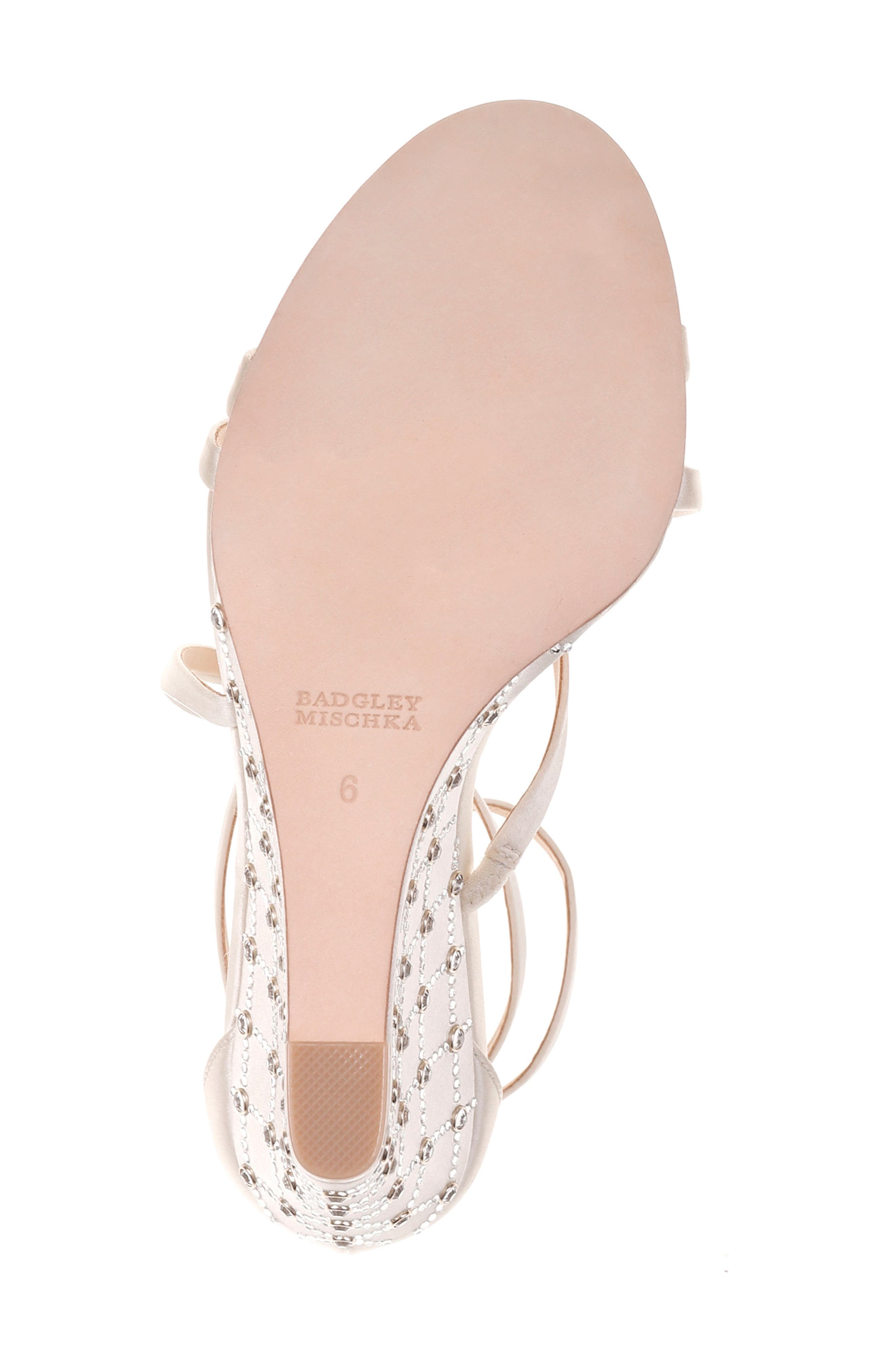 Shelly Strappy Wedge Sandal,                             Alternate thumbnail 6, color,                             Ivory Satin