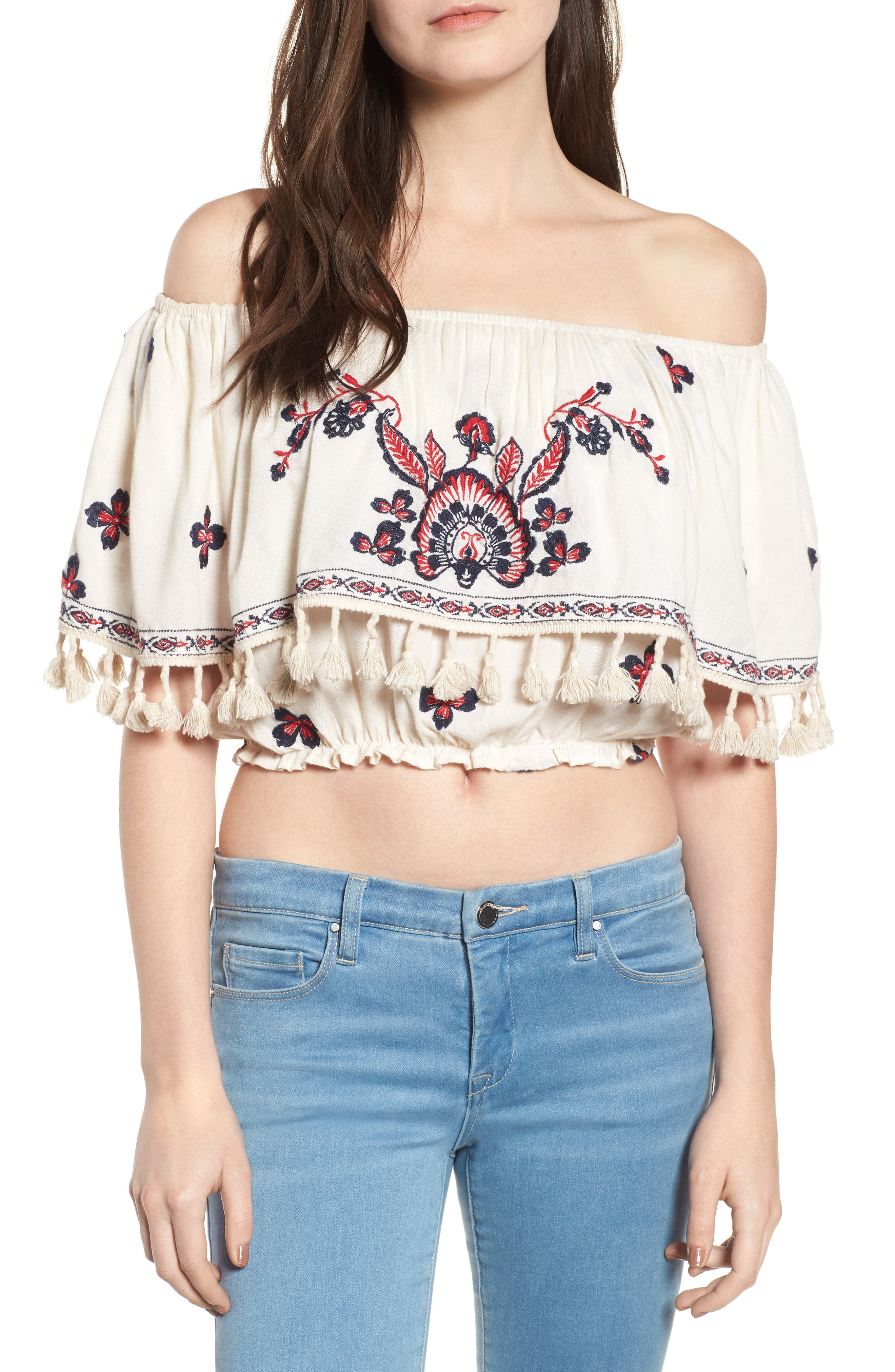 Tessi Embroidered Off the Shoulder Crop Top,                             Main thumbnail 1, color,                             Sugar Cookie