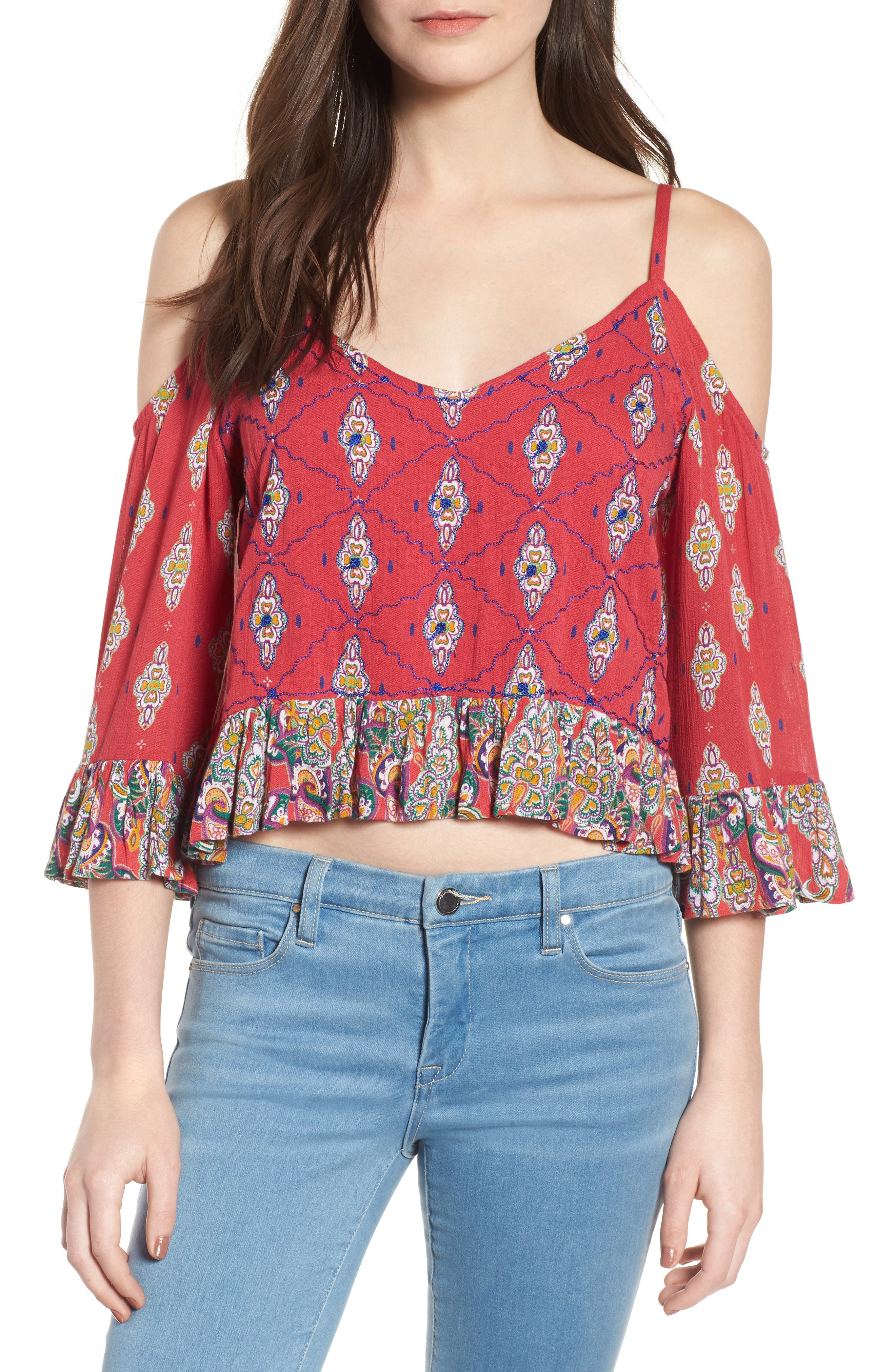 Alice Ruffle Cold Shoulder Top,                         Main,                         color, Lipstick Red
