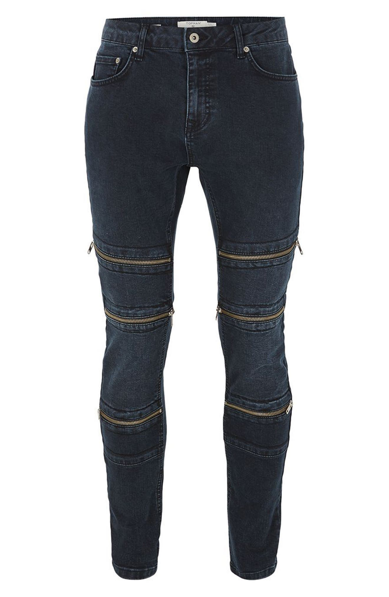 Alternate Image 4  - Topman Multi Zip Spray-On Jeans