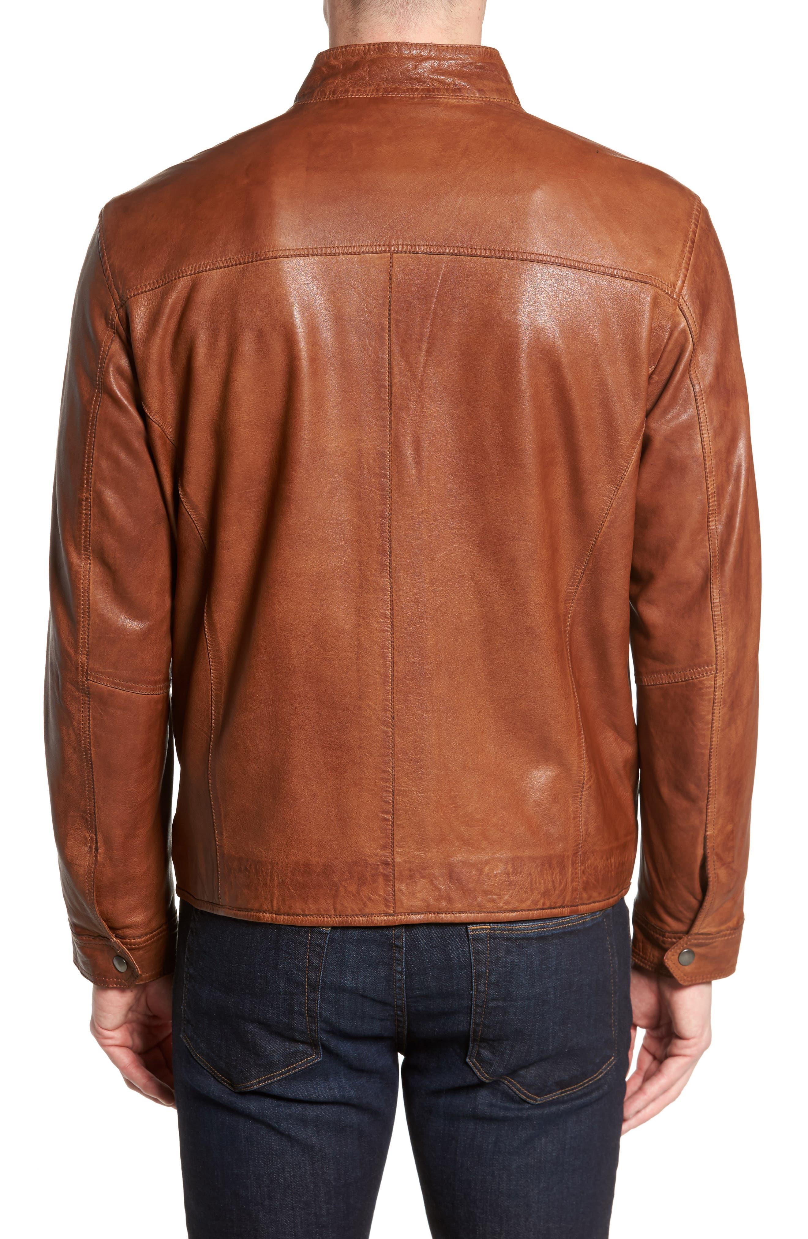 Zip Leather Jacket,                             Alternate thumbnail 2, color,                             Cognac