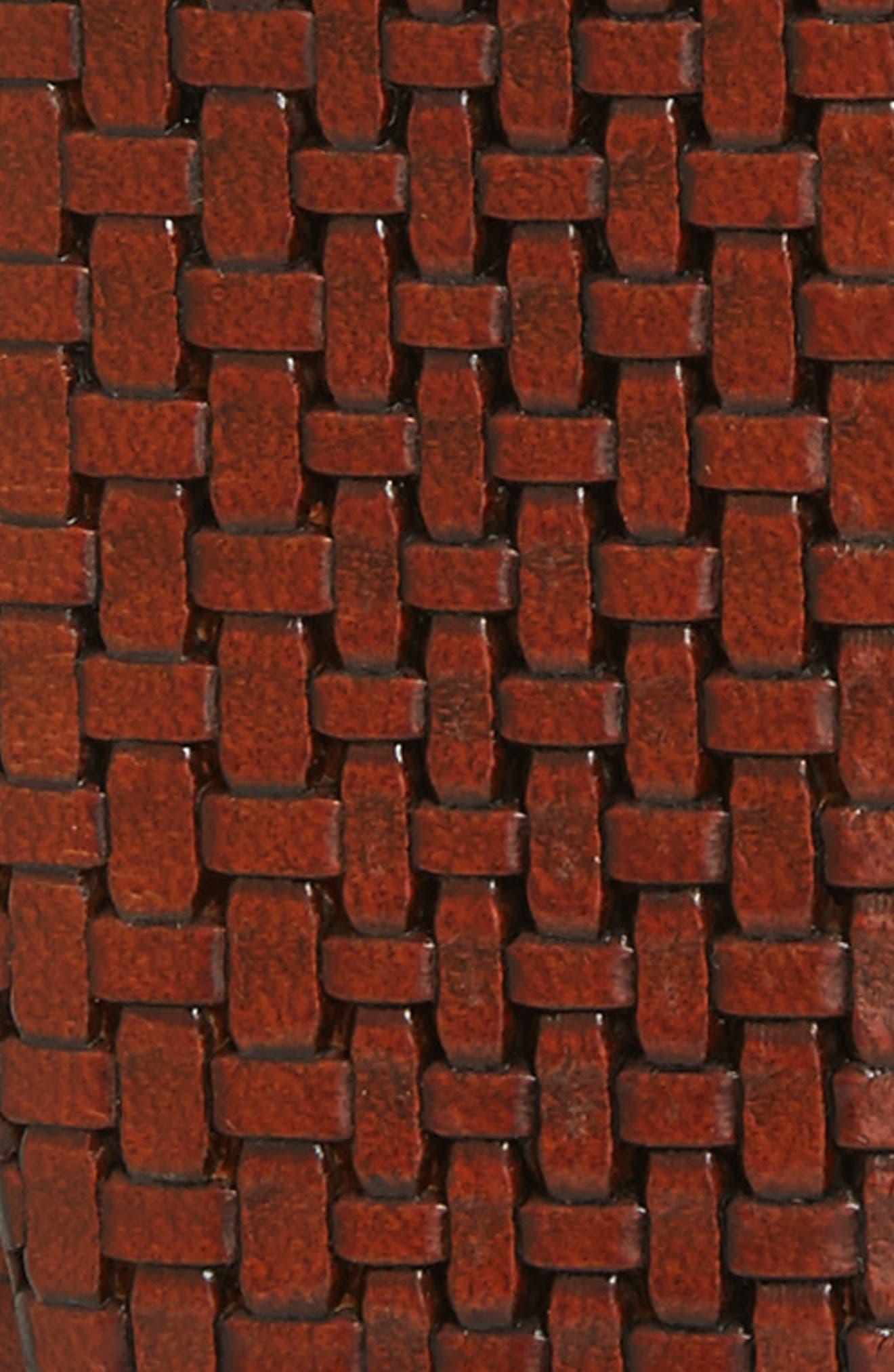 Woven Leather Belt,                             Alternate thumbnail 2, color,                             Medium Brown
