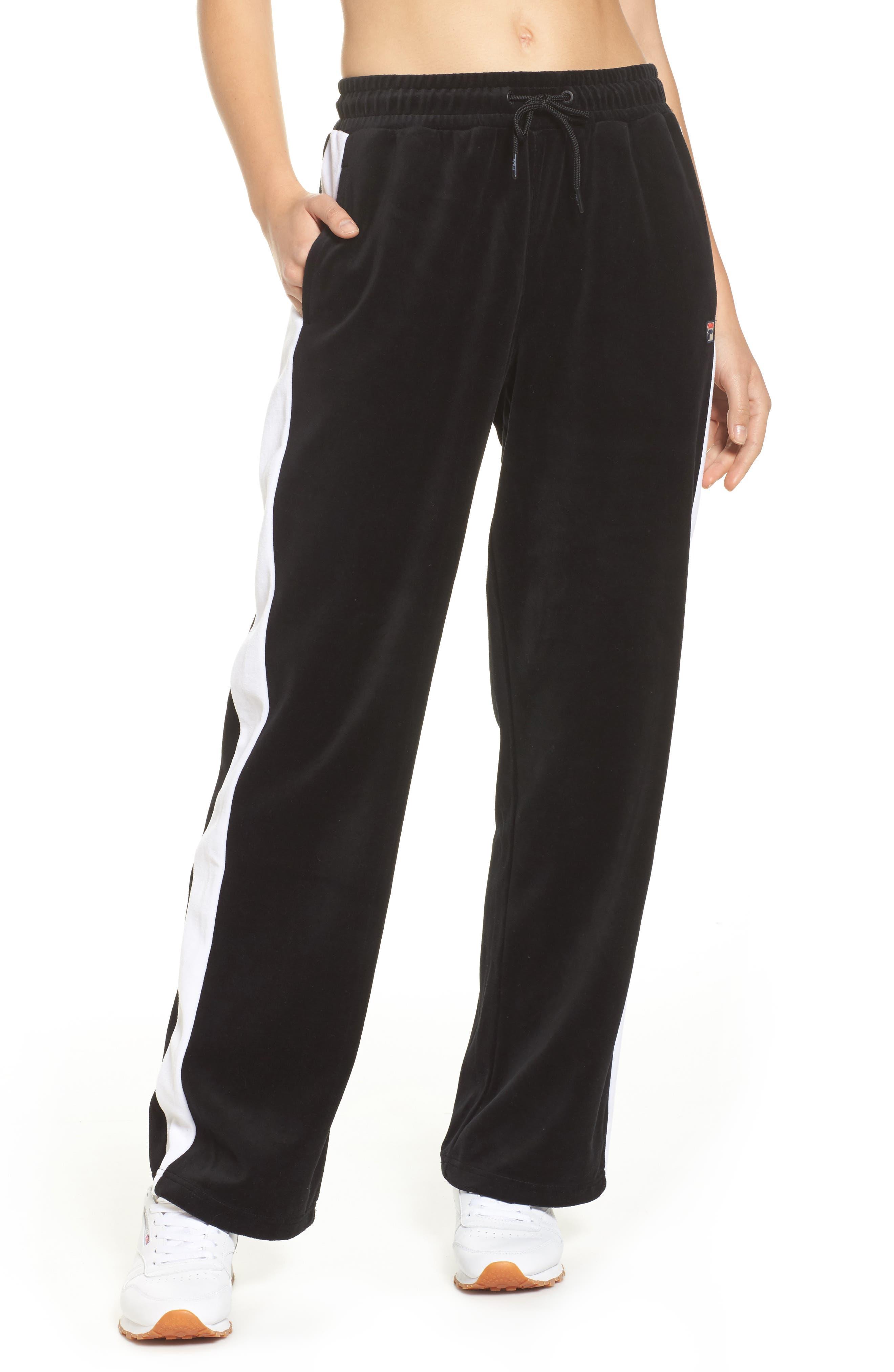 Bonnie Velour Track Pants,                             Main thumbnail 1, color,                             Black/ White