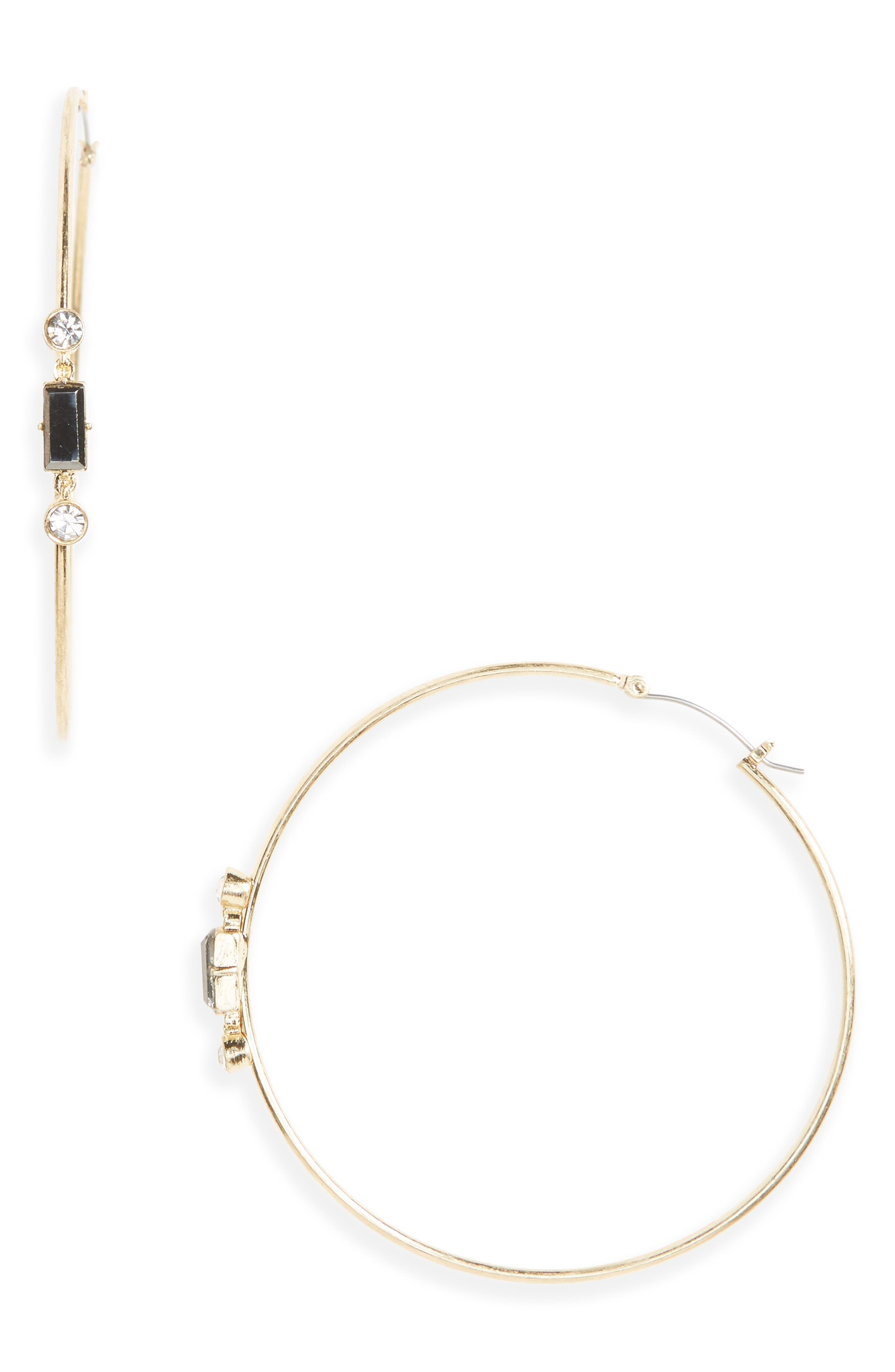Main Image - Canvas Crystal Hoop Earrings
