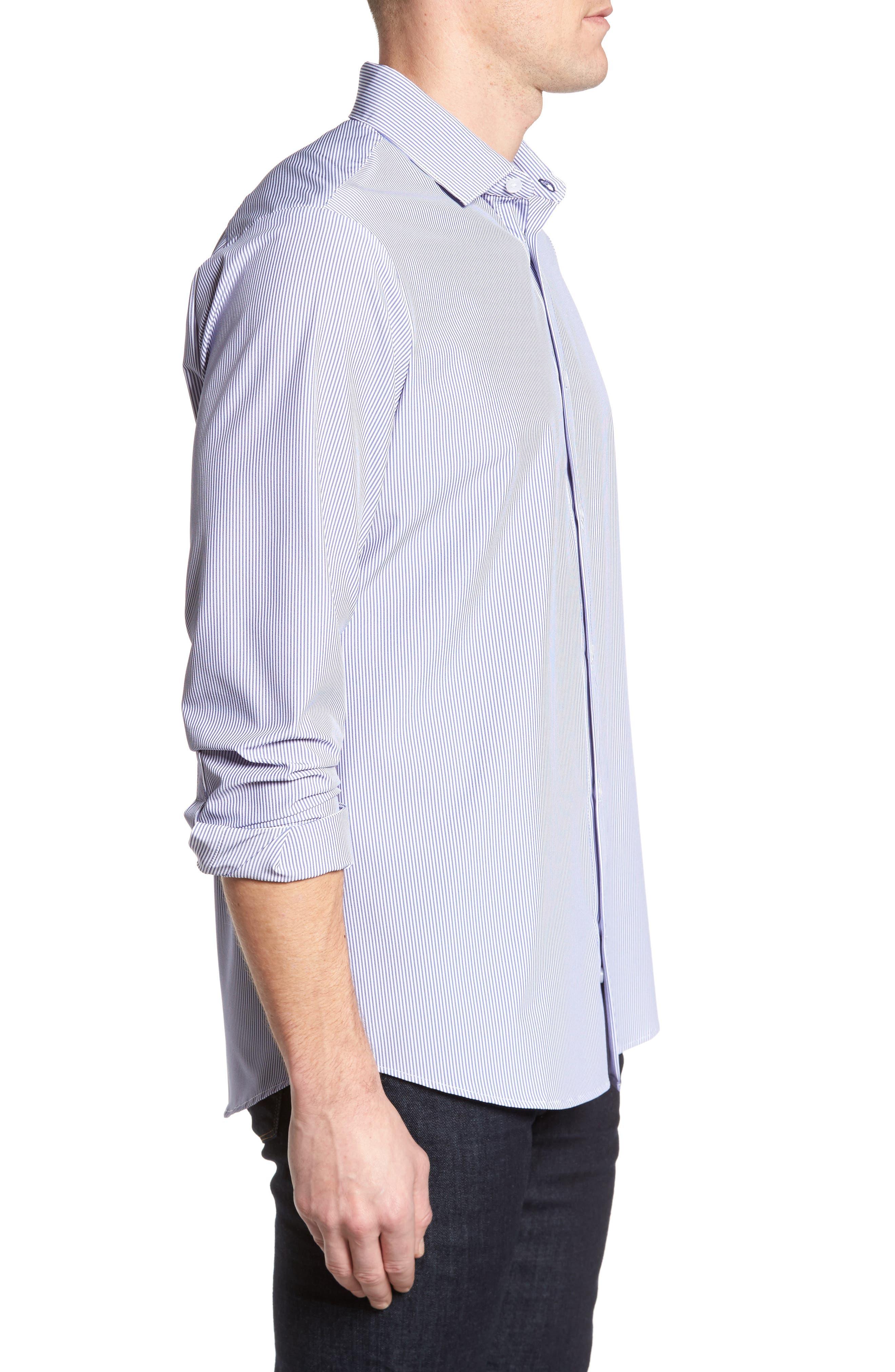 Newport Pinstripe Sport Shirt,                             Alternate thumbnail 4, color,                             Blue