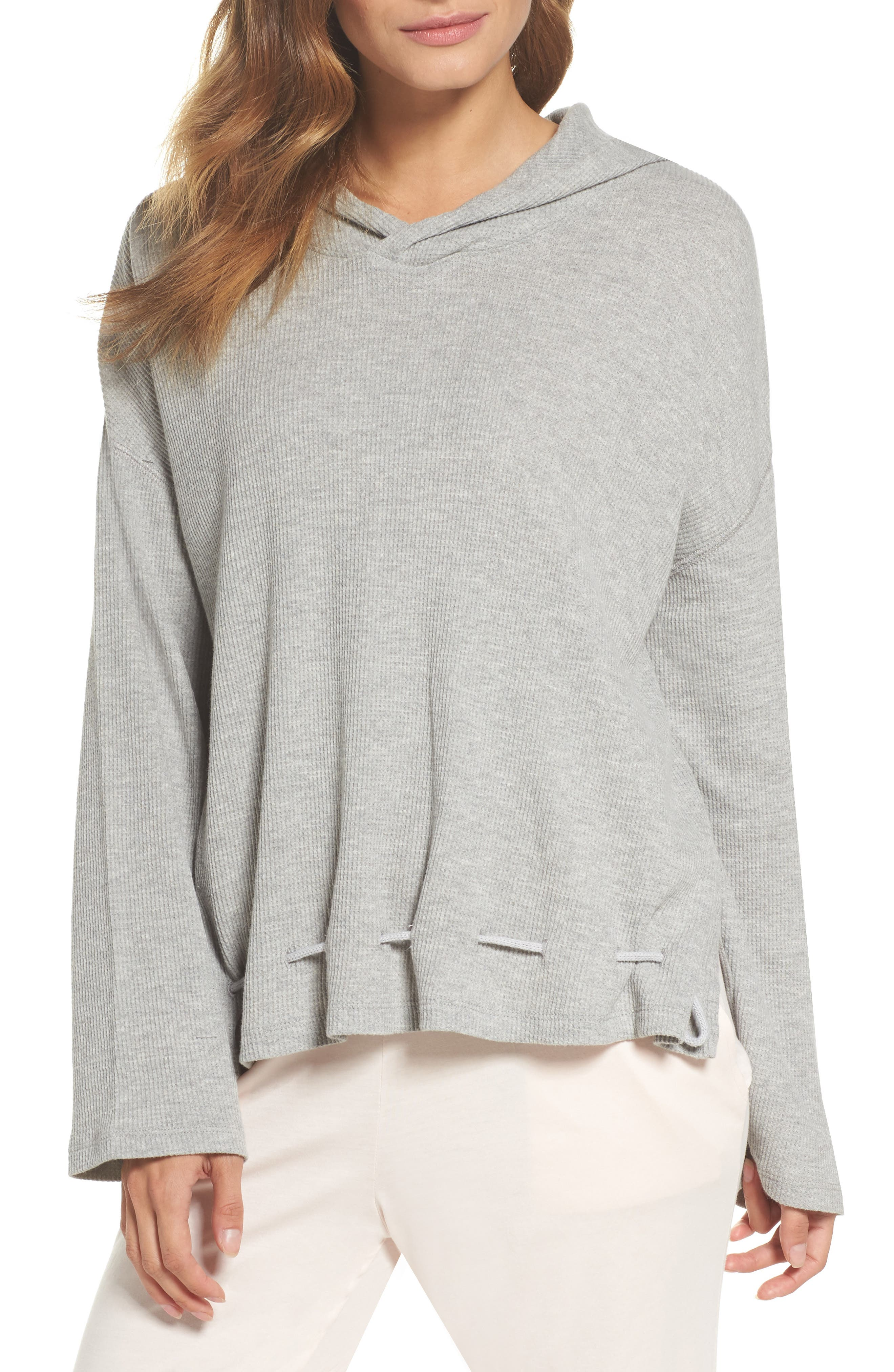 Thermal Hooded Top,                         Main,                         color, Heather Grey