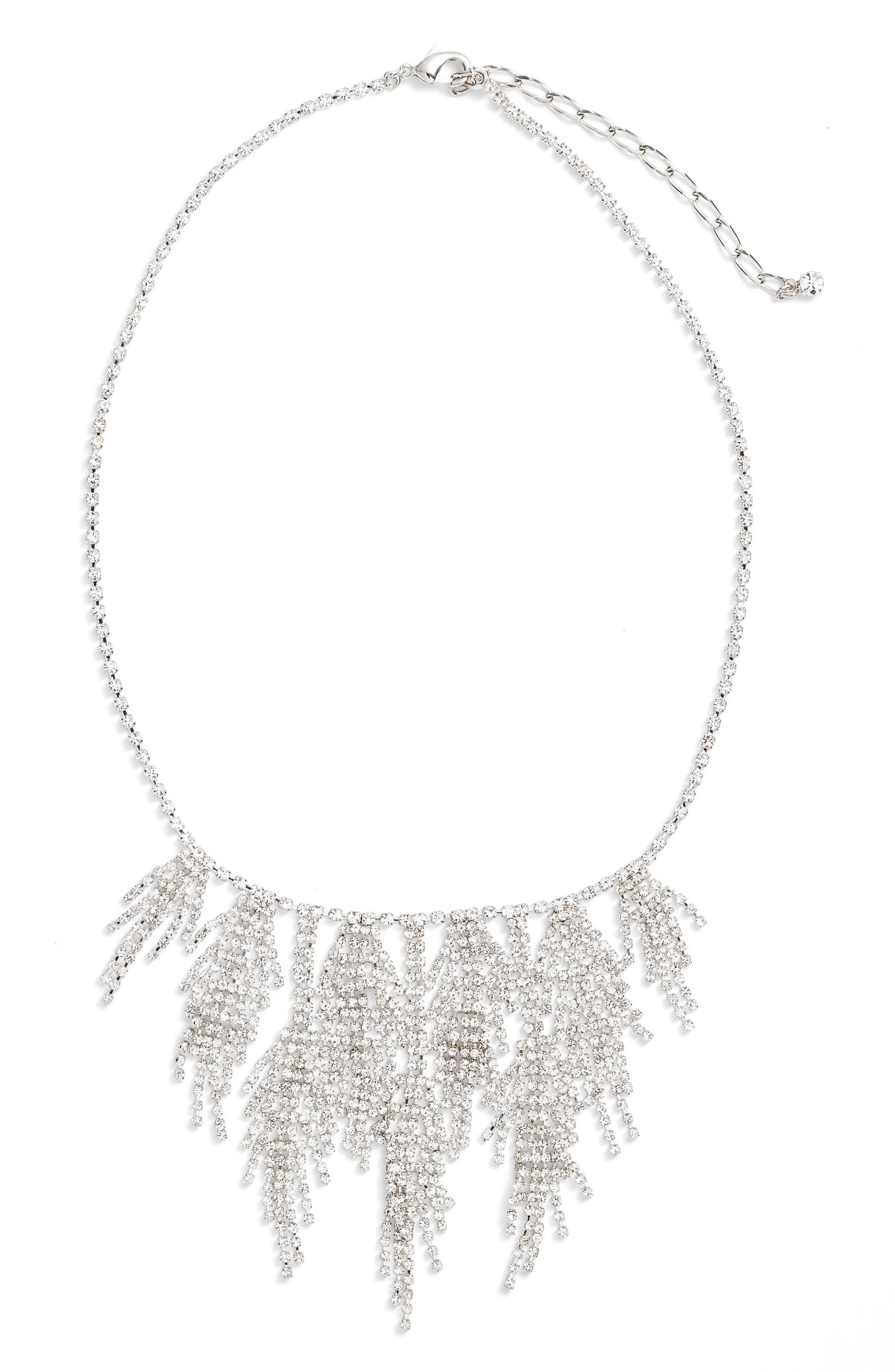 Multifringe Crystal Necklace,                         Main,                         color, Silver