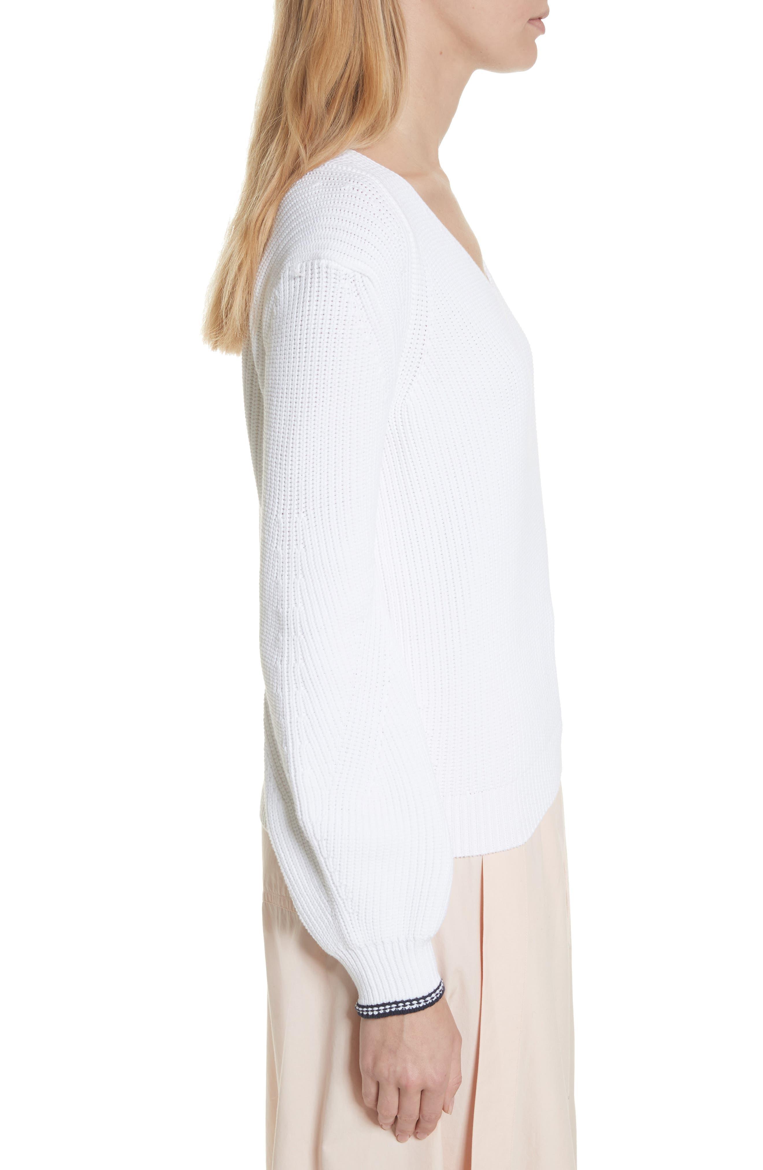 Bishop Sleeve Sweater,                             Alternate thumbnail 3, color,                             Optic White/ Coastal