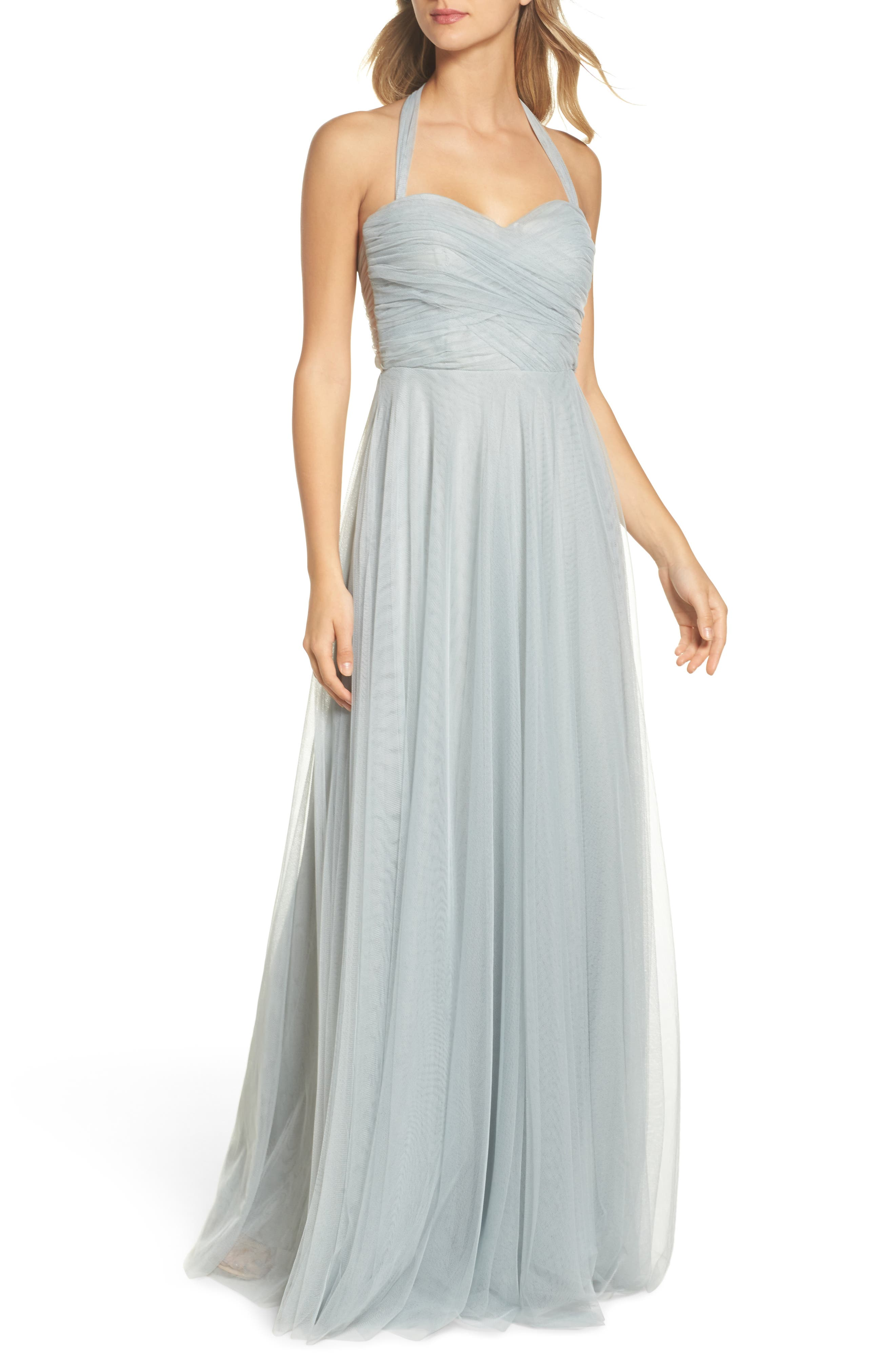 Julia Convertible Soft Tulle Gown,                             Alternate thumbnail 4, color,                             Morning Mist