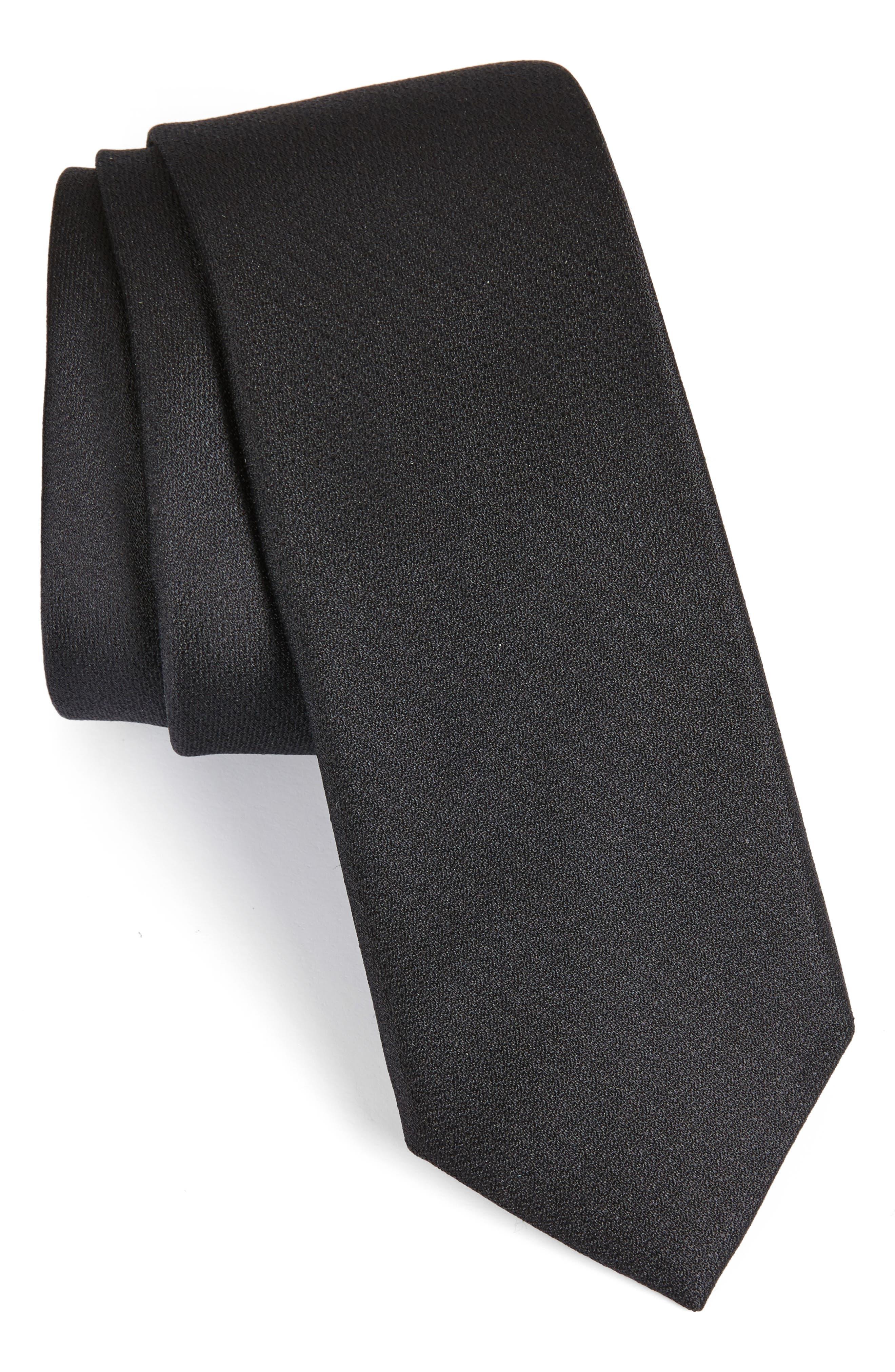 Clara Solid Silk Skinny Tie,                         Main,                         color, Black