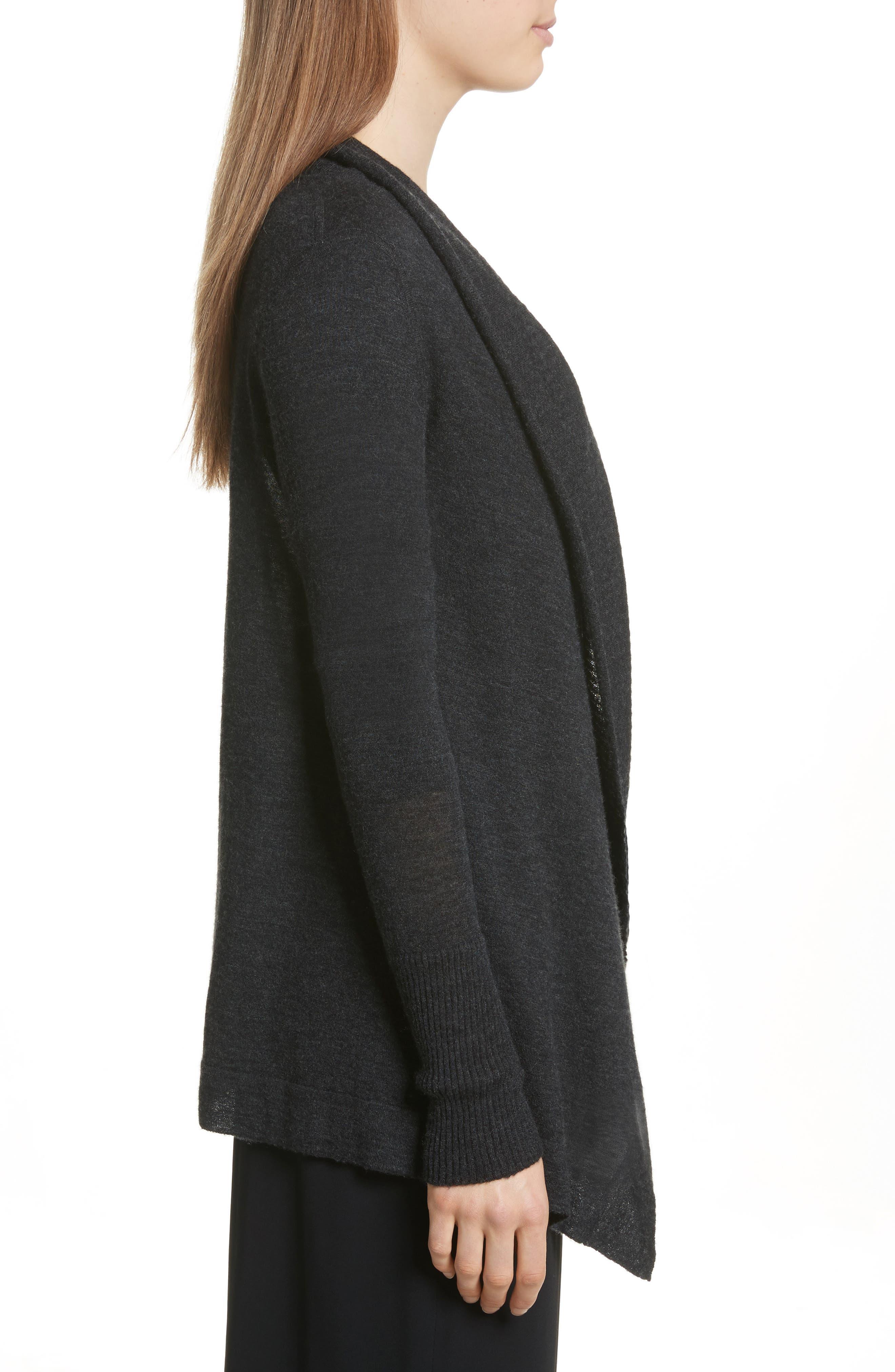 Drape Front Wool & Cashmere Cardigan,                             Alternate thumbnail 3, color,                             Charcoal