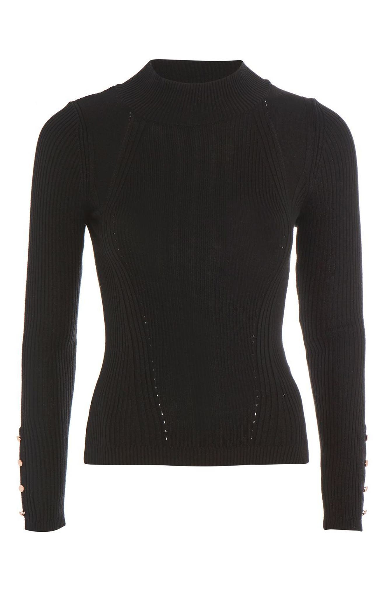 Button Cuff Sweater,                             Alternate thumbnail 4, color,                             Black