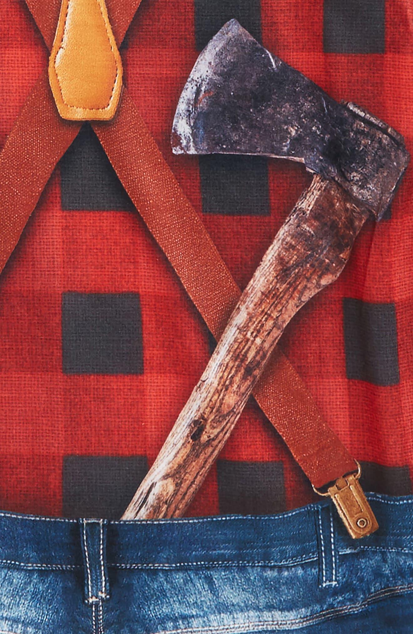 Lumberjack Tattoo Print Sleeve T-Shirt,                             Alternate thumbnail 3, color,                             Red/ Black Plaid
