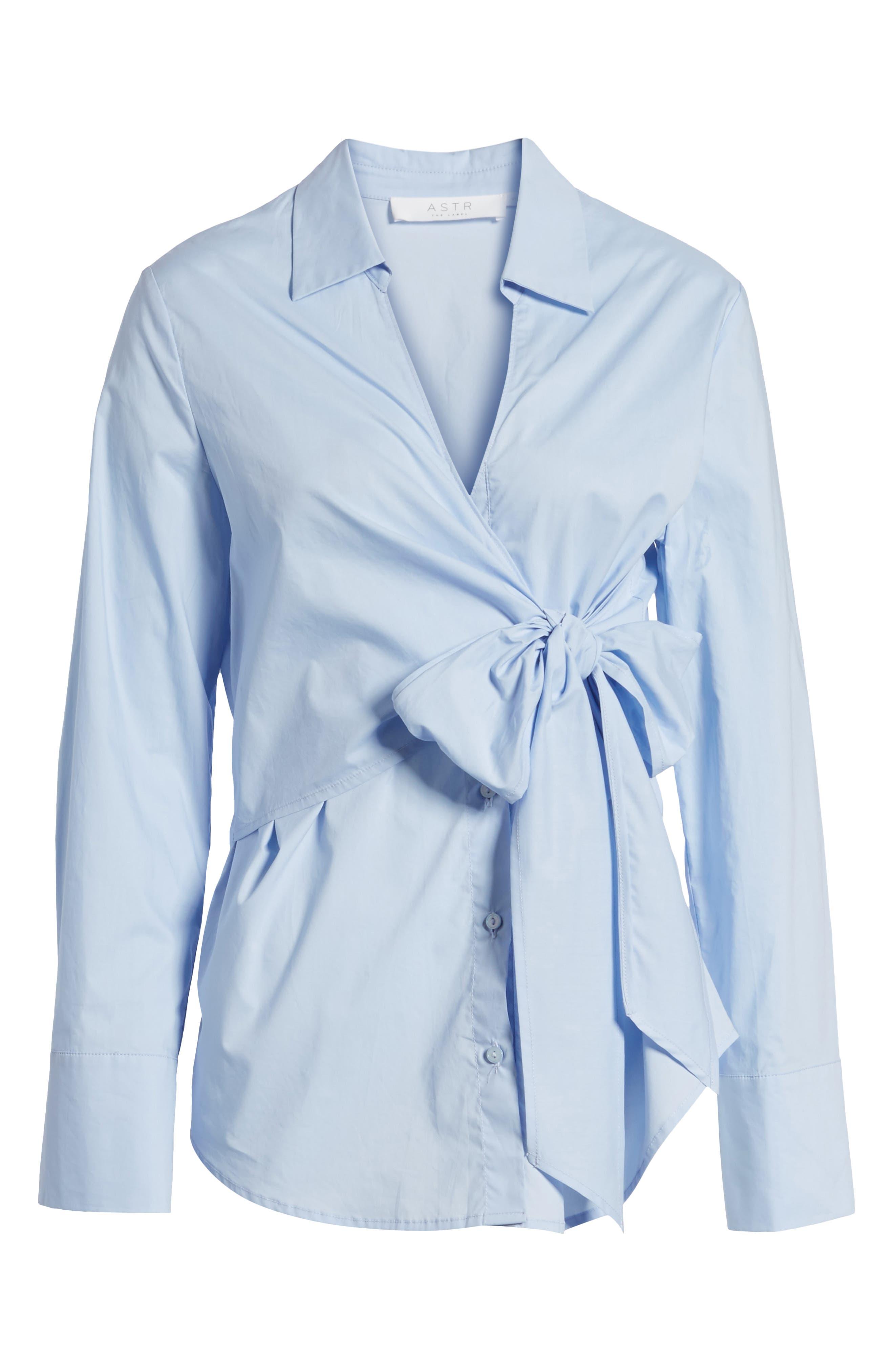 Tie Front Poplin Blouse,                             Alternate thumbnail 6, color,                             Light Blue