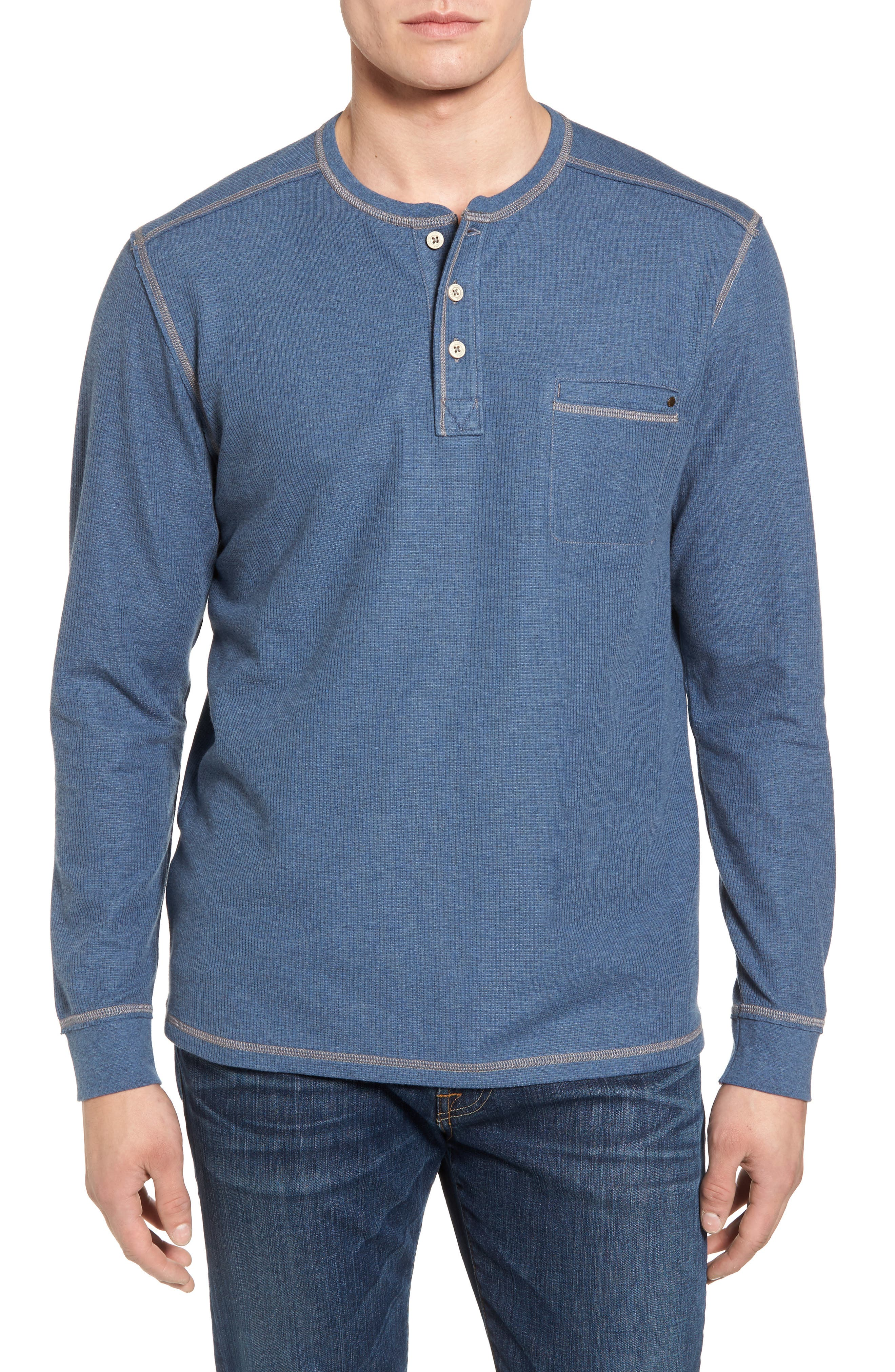 Island Thermal Standard Fit Thermal Henley,                         Main,                         color, Cadet Heather