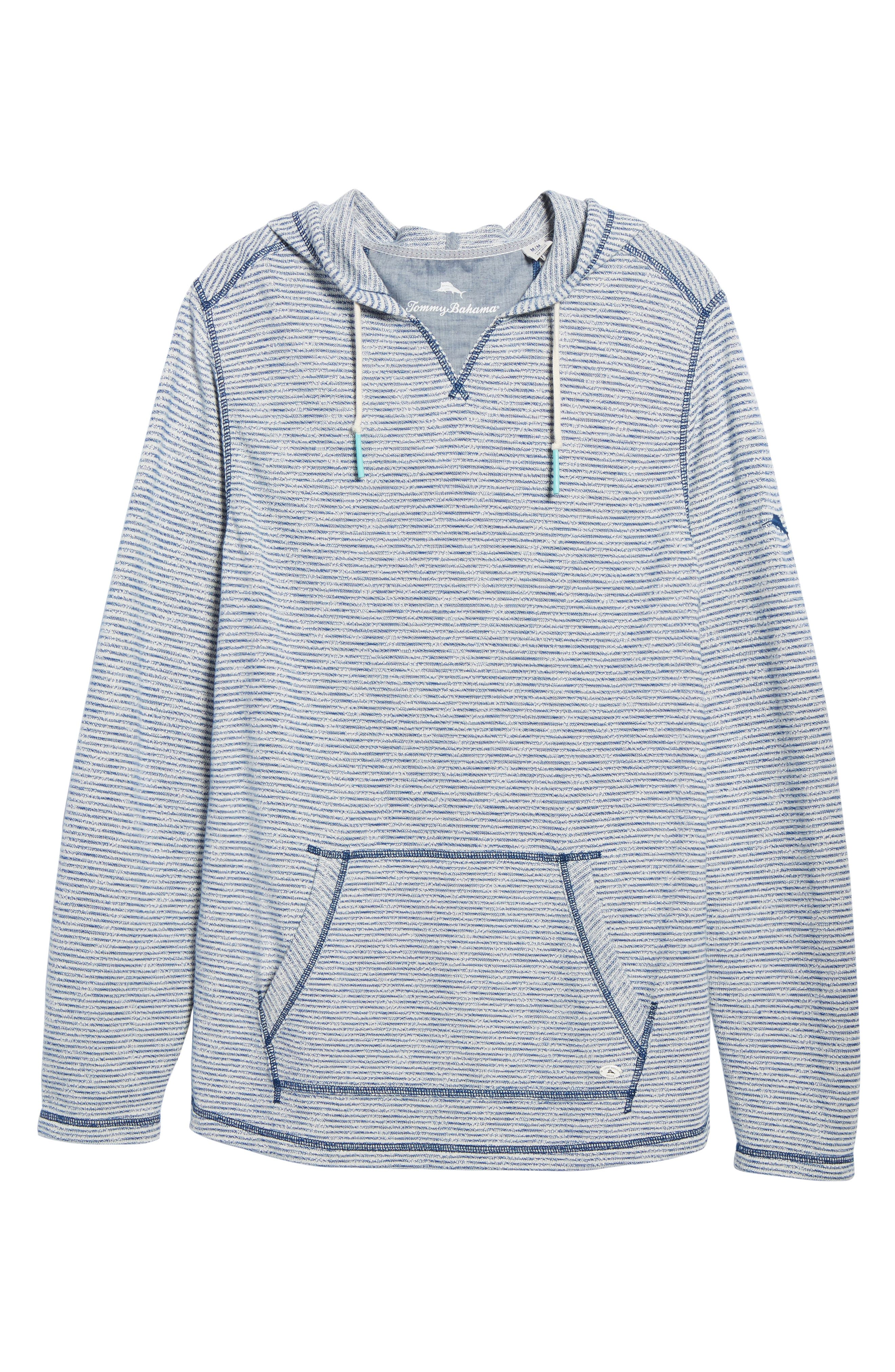 Bayfront Stripe Hooded Pullover,                             Alternate thumbnail 6, color,                             Galaxy Blue