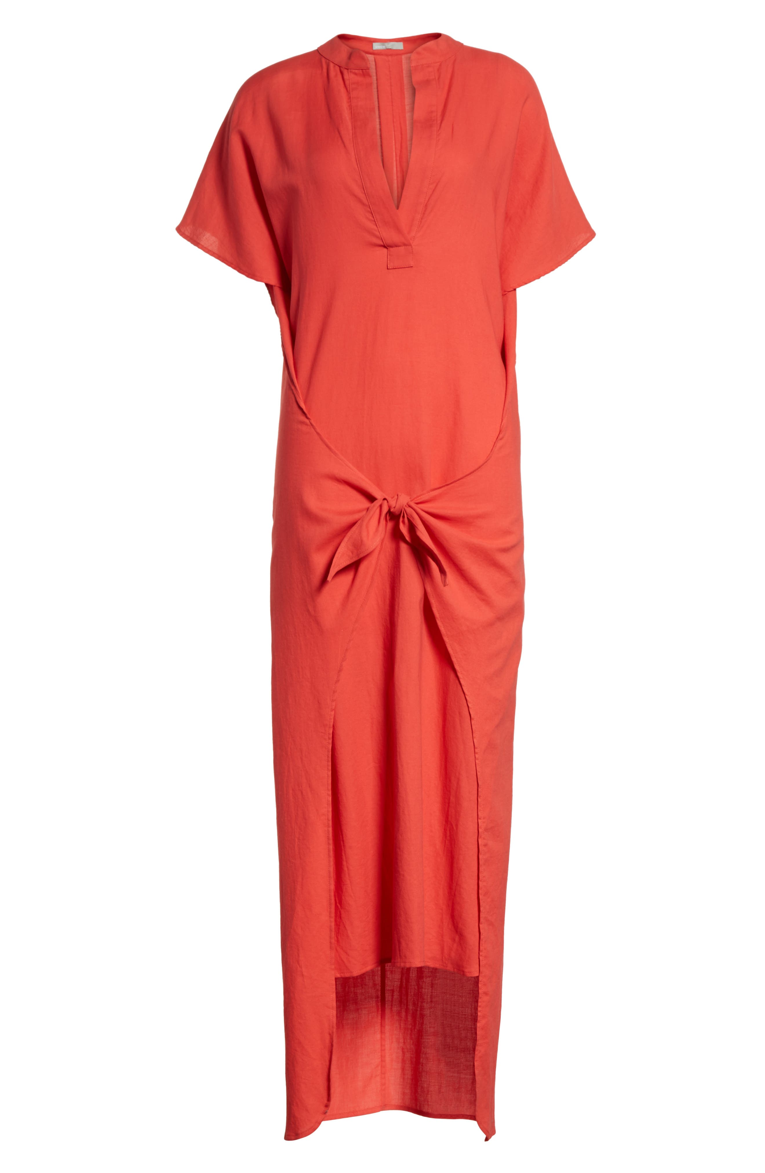 Wrap Front Maxi Dress,                             Alternate thumbnail 6, color,                             Poppy