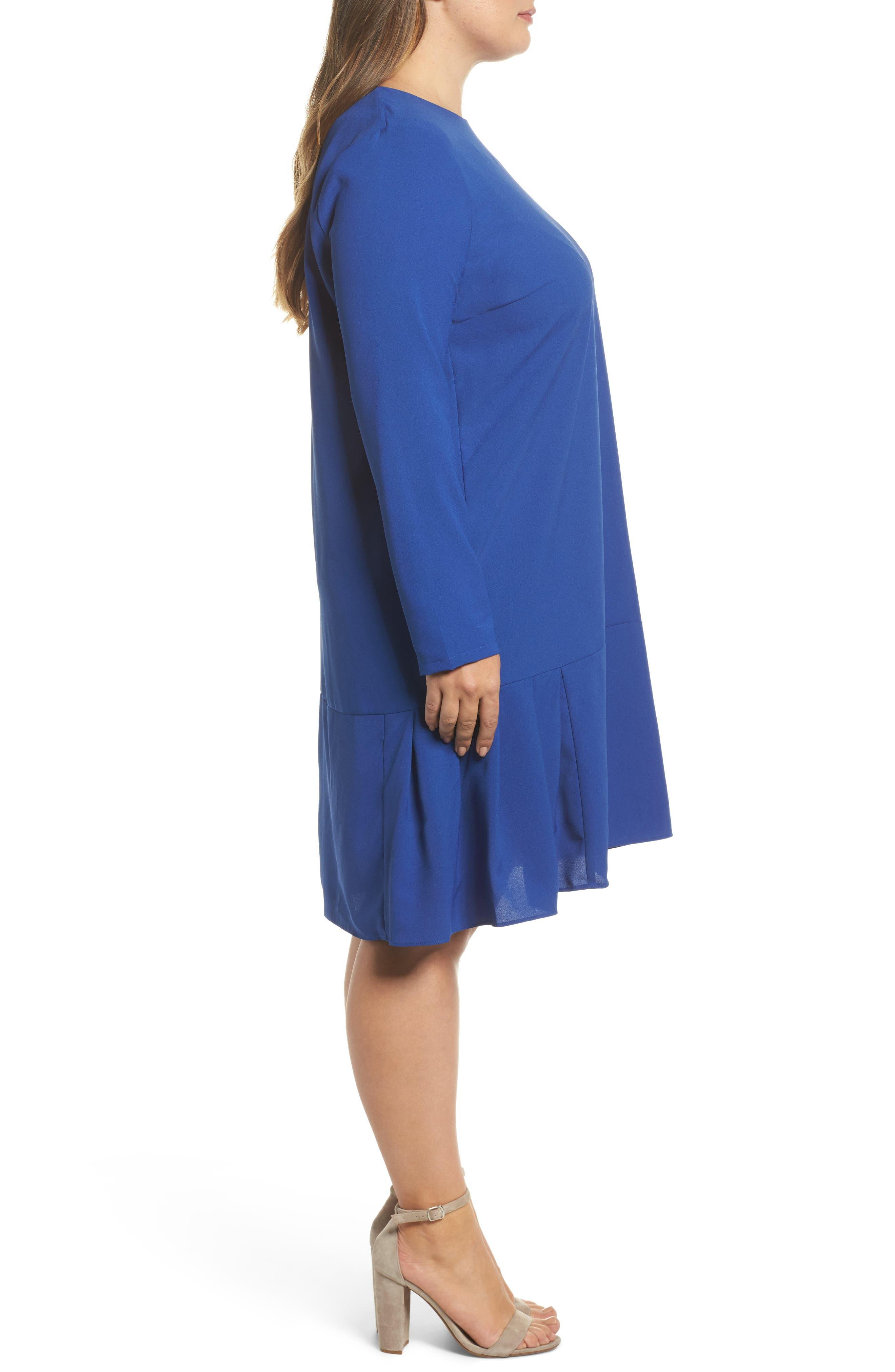 Long Sleeve Shift Dress,                             Alternate thumbnail 3, color,                             Cobalt