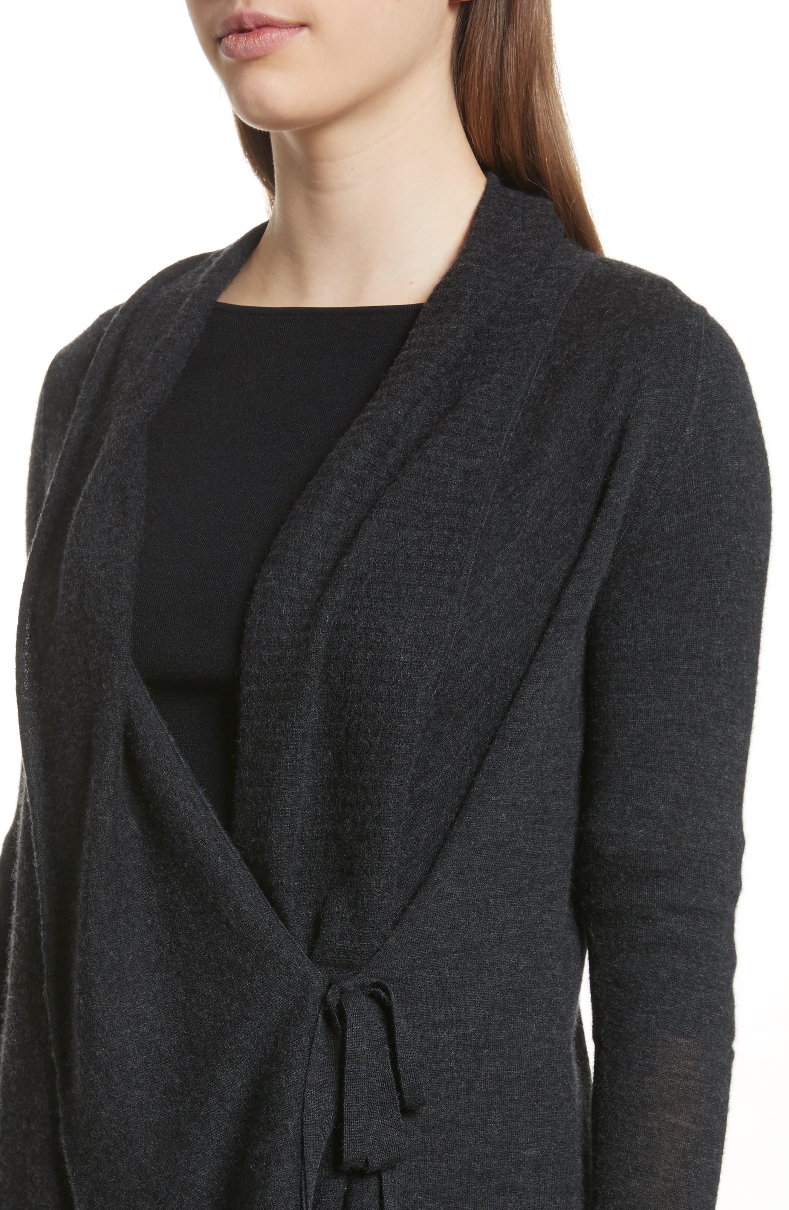 Drape Front Wool & Cashmere Cardigan,                             Alternate thumbnail 4, color,                             Charcoal