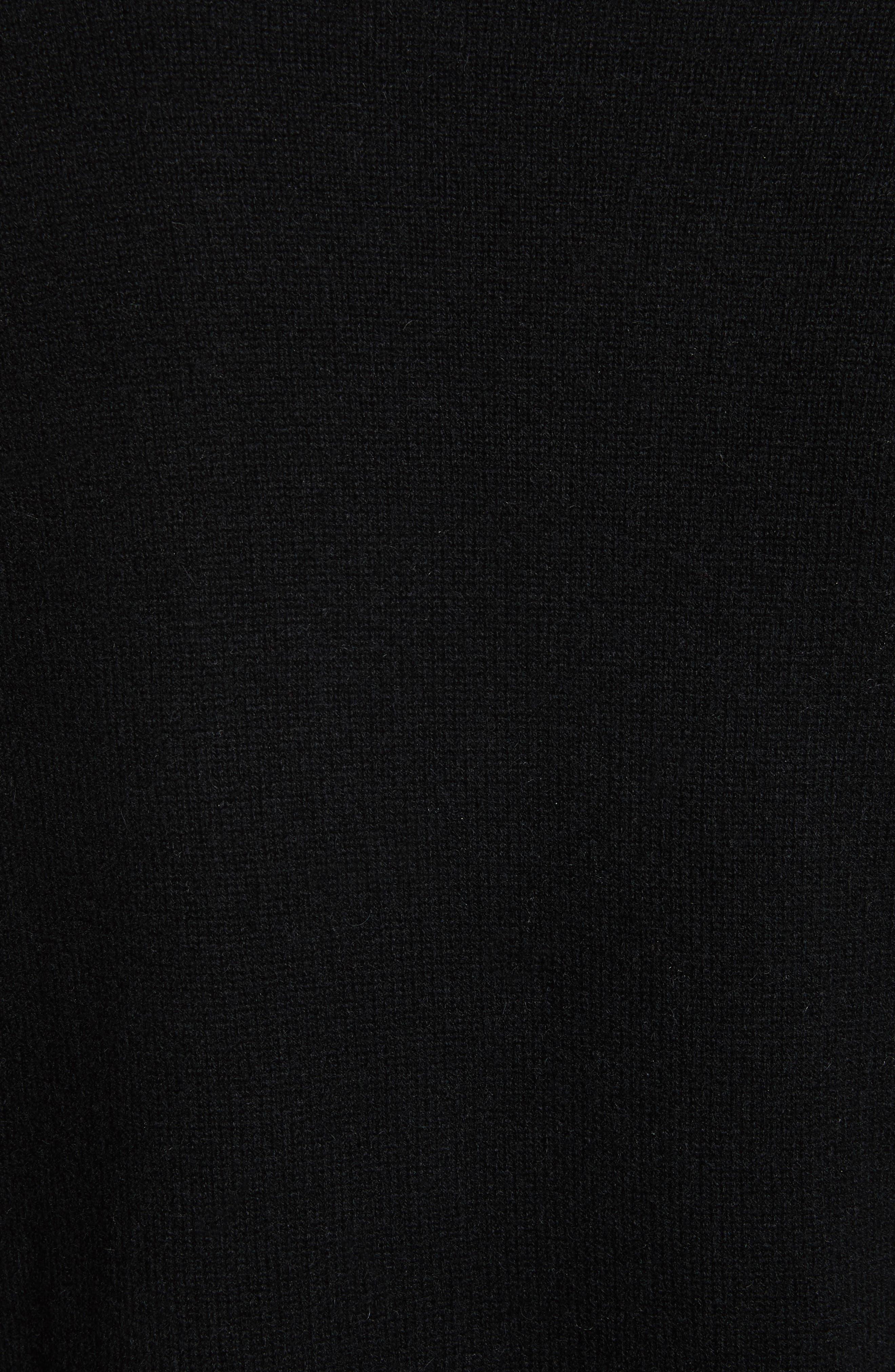 Open Front Cashmere Long Cardigan,                             Alternate thumbnail 5, color,                             Black