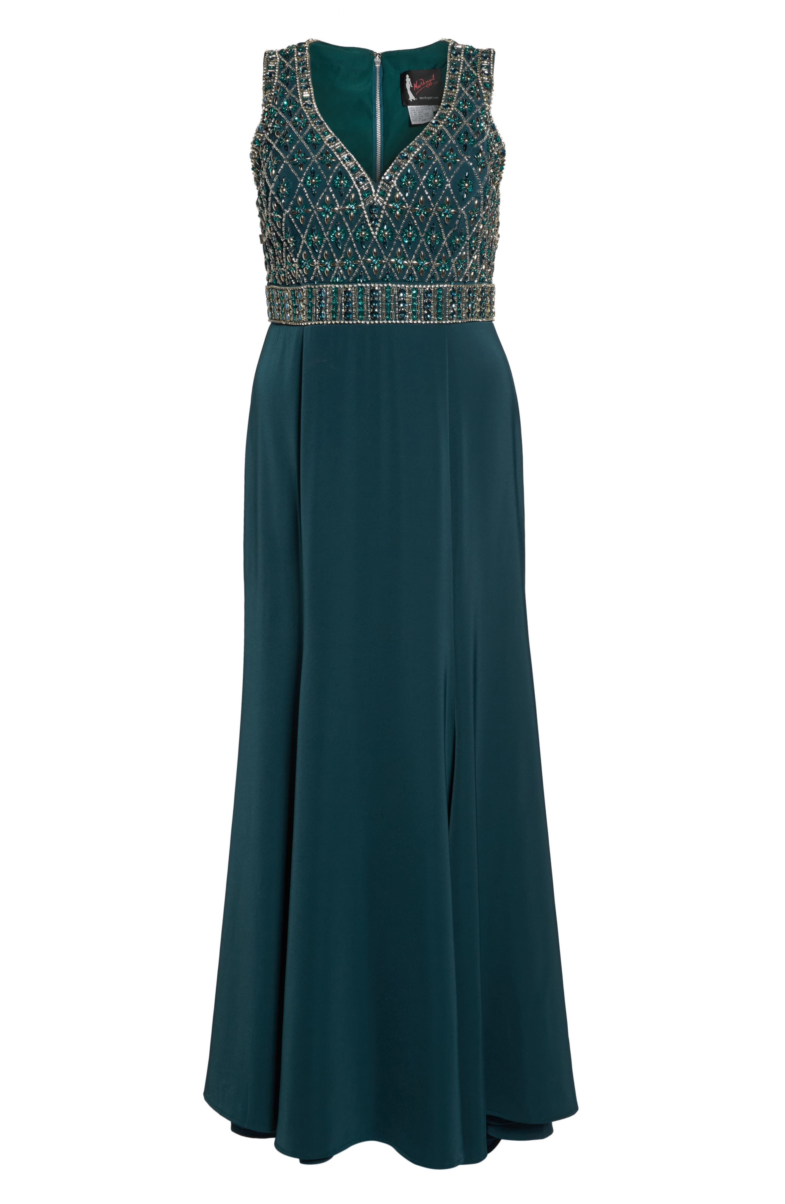 Crystal Embellished Ballgown,                             Alternate thumbnail 6, color,                             Deep Emerald