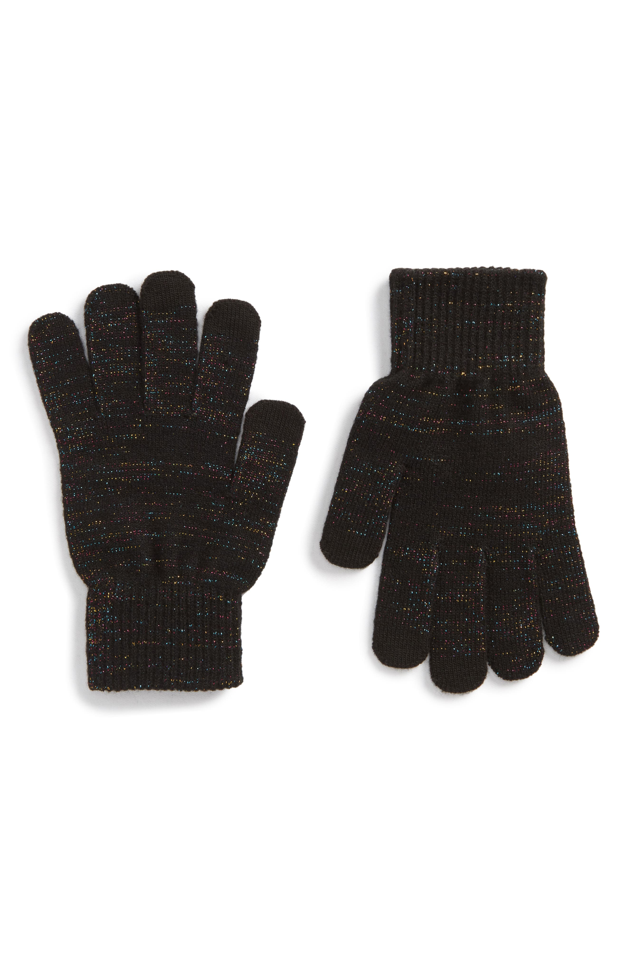 Core Glitter Gloves,                         Main,                         color, Black