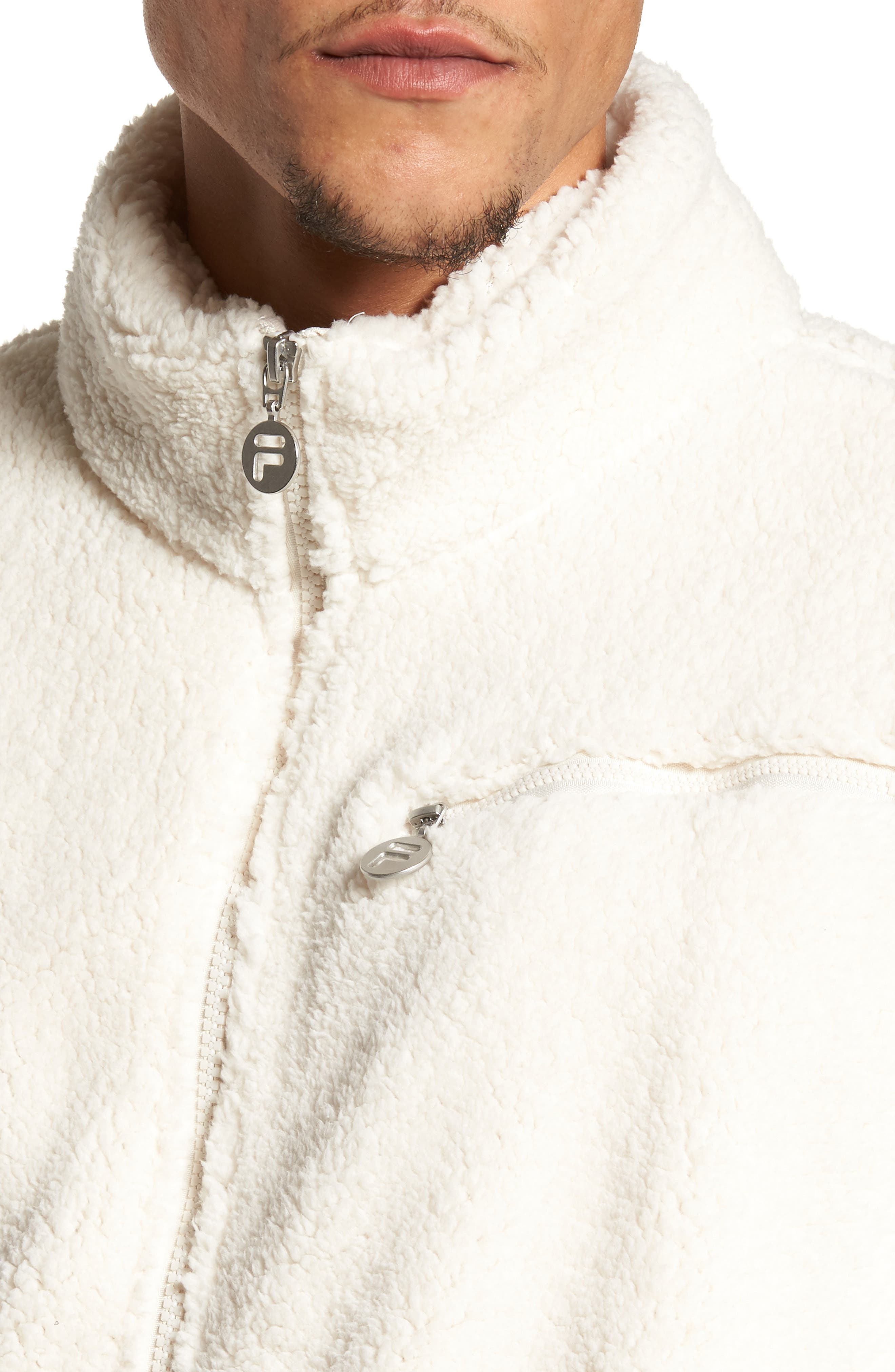 Finlay Fleece Jacket,                             Alternate thumbnail 4, color,                             Gardenia/ Navy/ Chinese Red