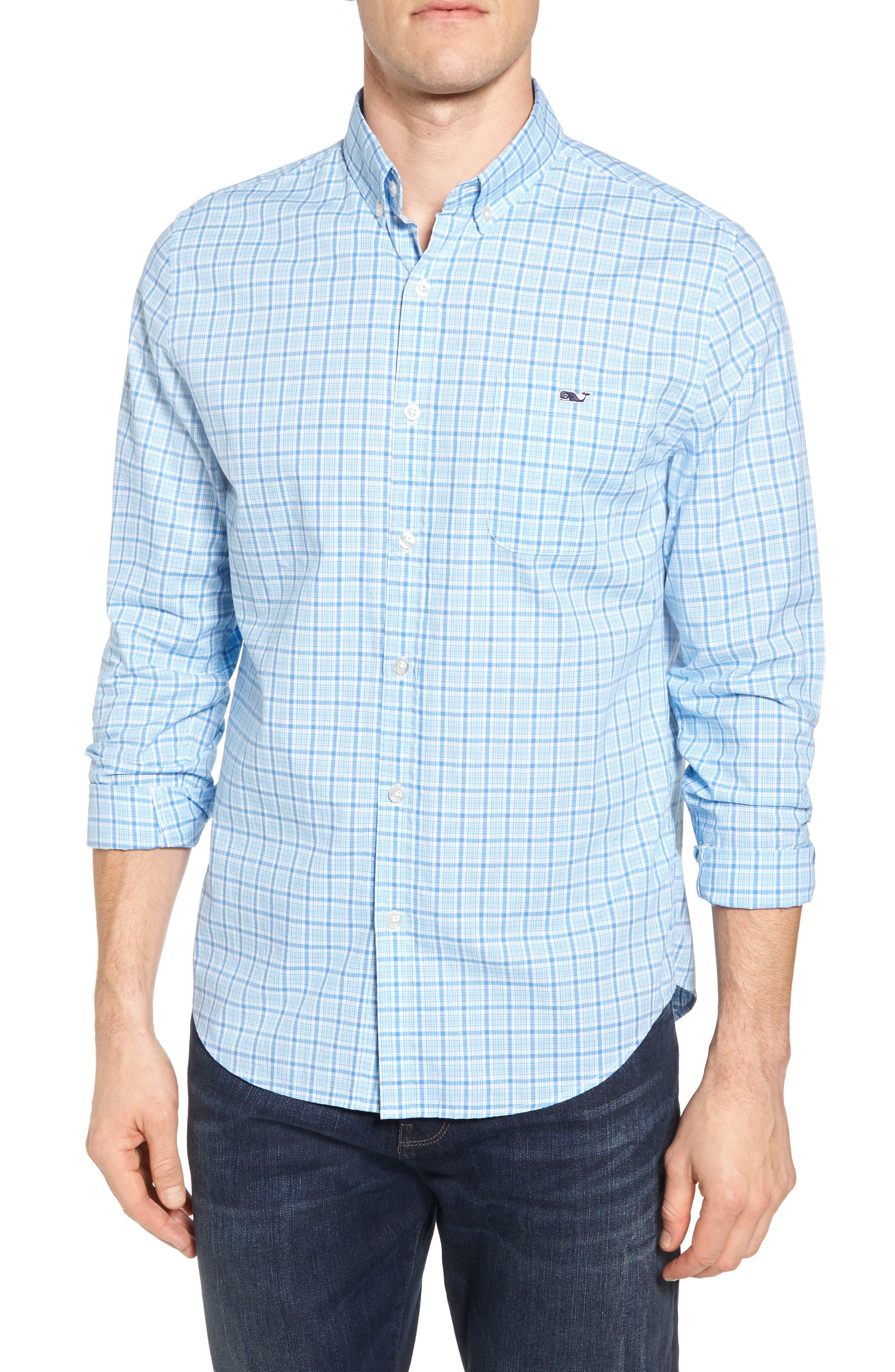 Seawatch Slim Fit Plaid Sport Shirt,                         Main,                         color, Turquoise