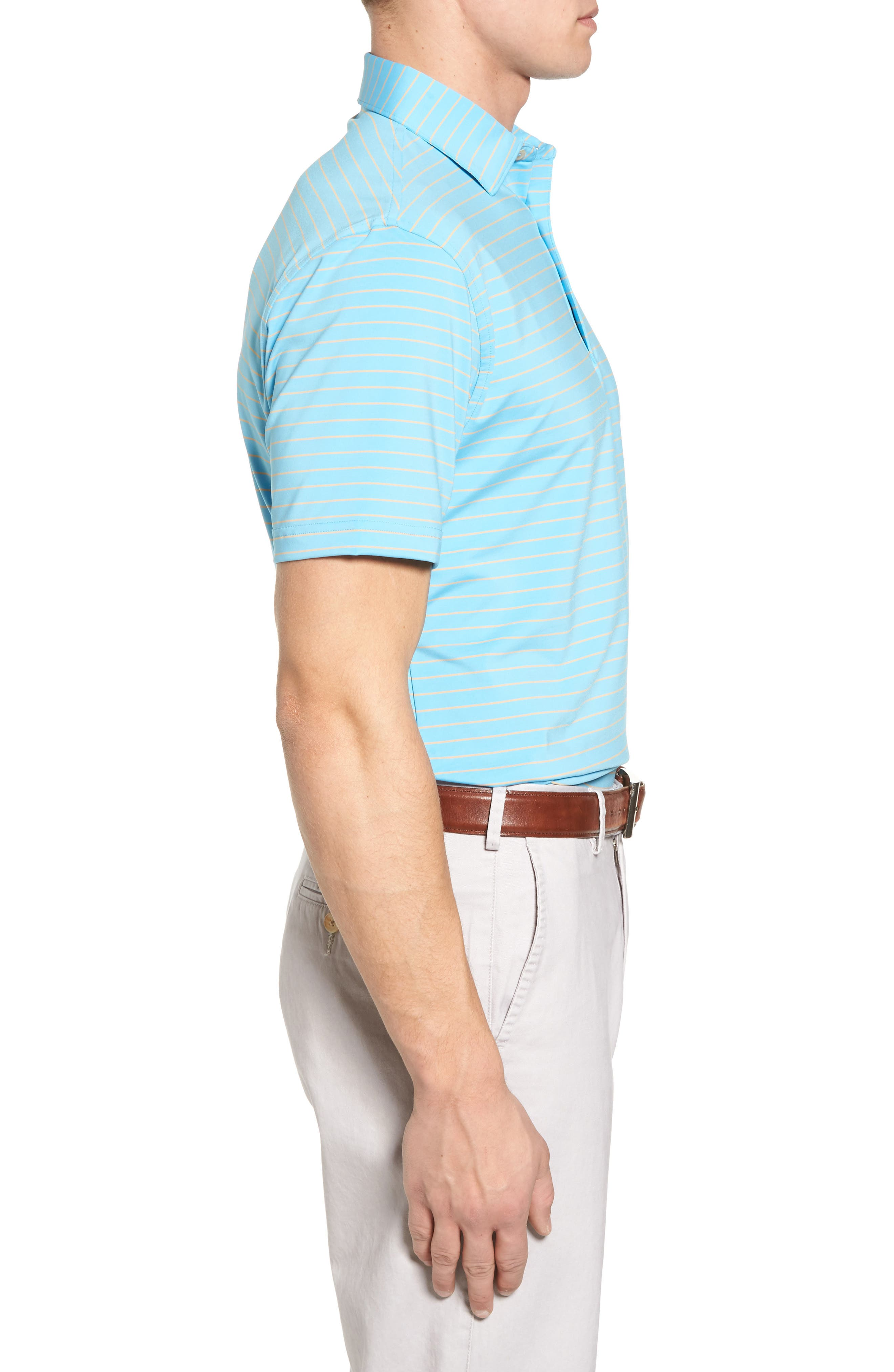 Halifax Pinstripe Stretch Jersey Polo,                             Alternate thumbnail 3, color,                             Grotto Blue