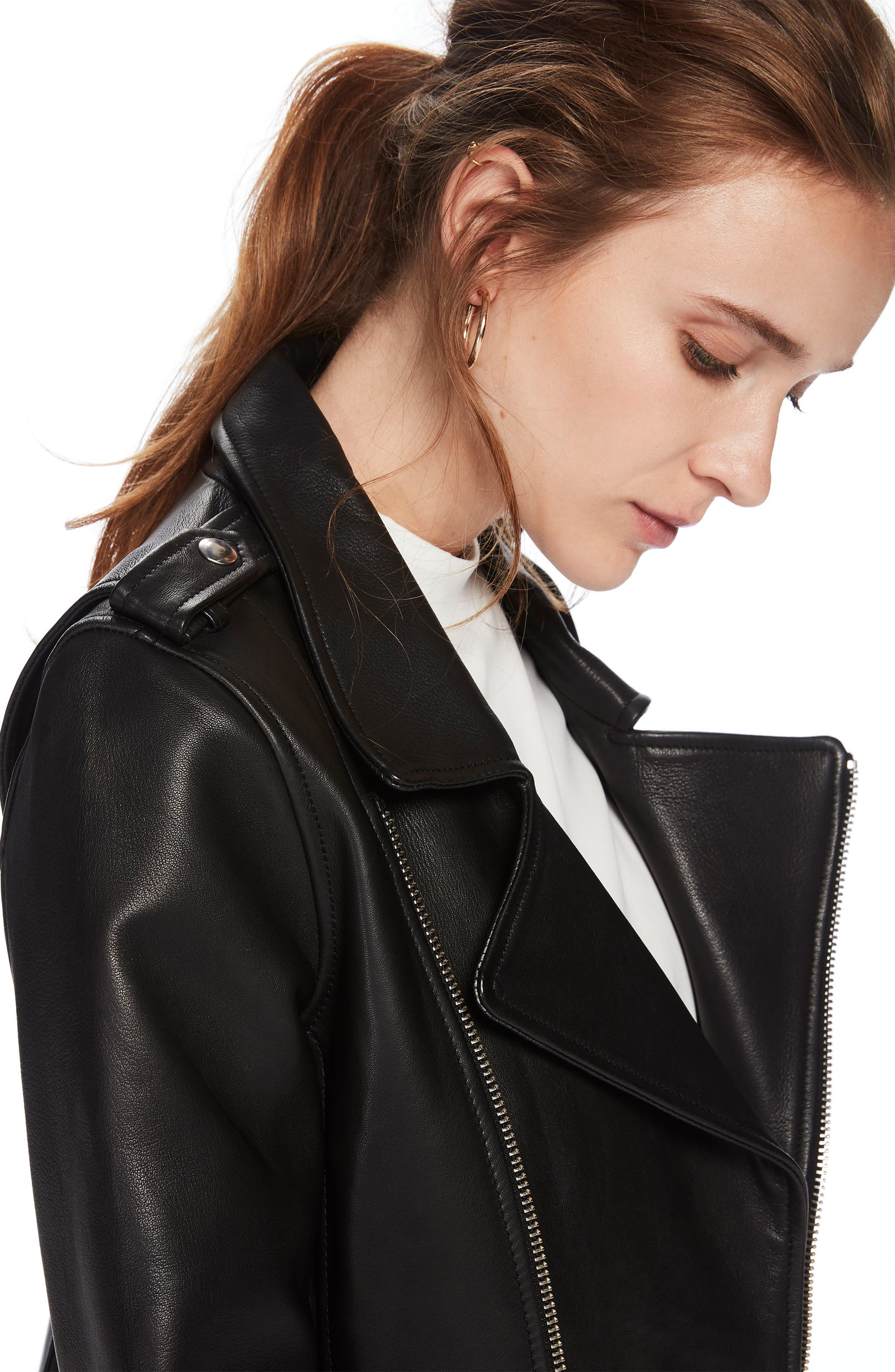 Leather Biker Jacket,                             Alternate thumbnail 4, color,                             Black