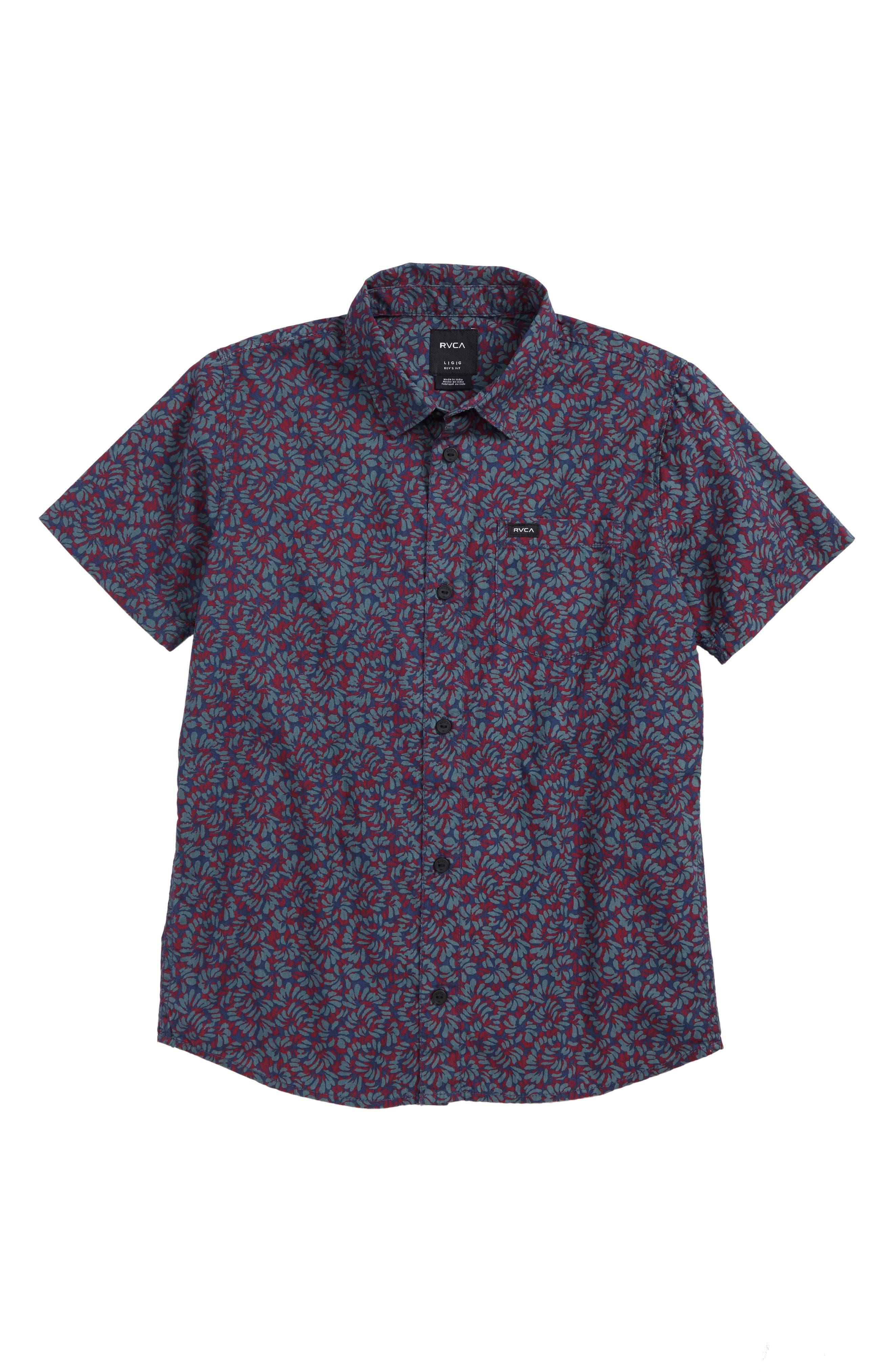 Brong Floral Woven Shirt,                         Main,                         color, Dark Denim
