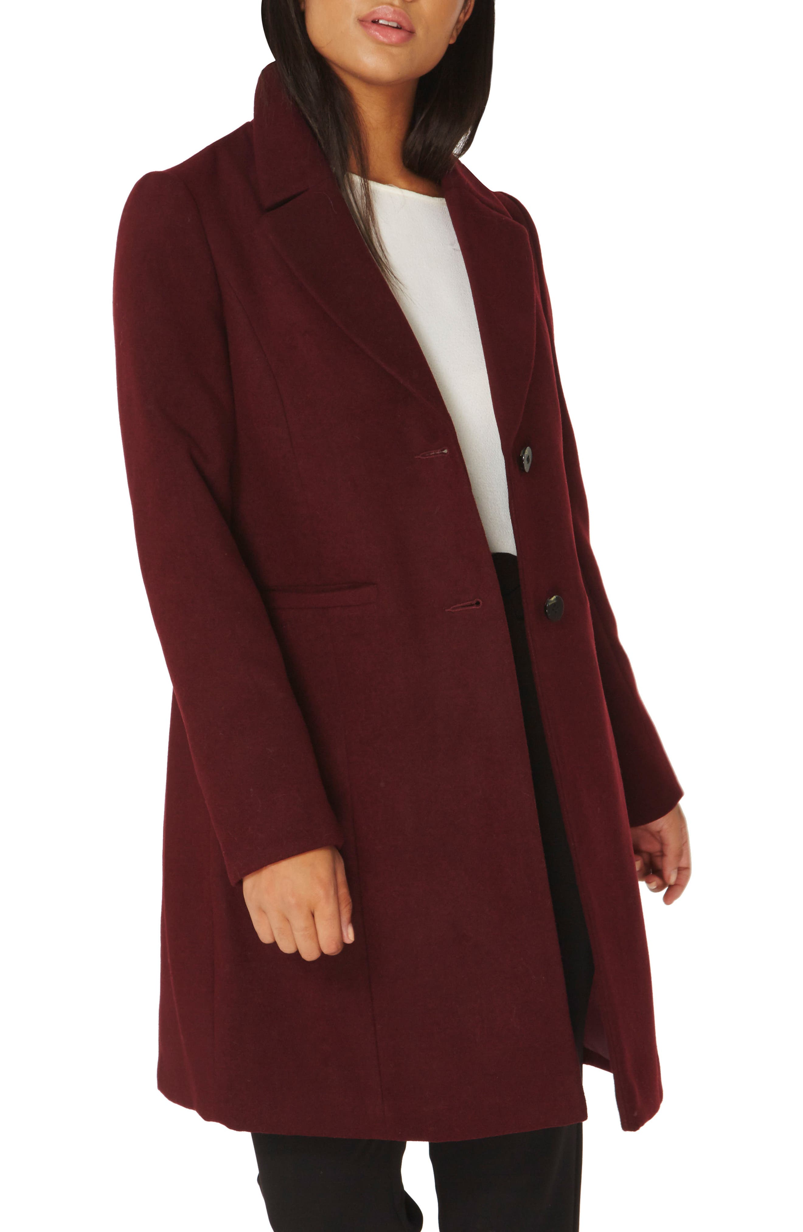 Single Breasted Coat,                             Alternate thumbnail 3, color,                             Berry Red