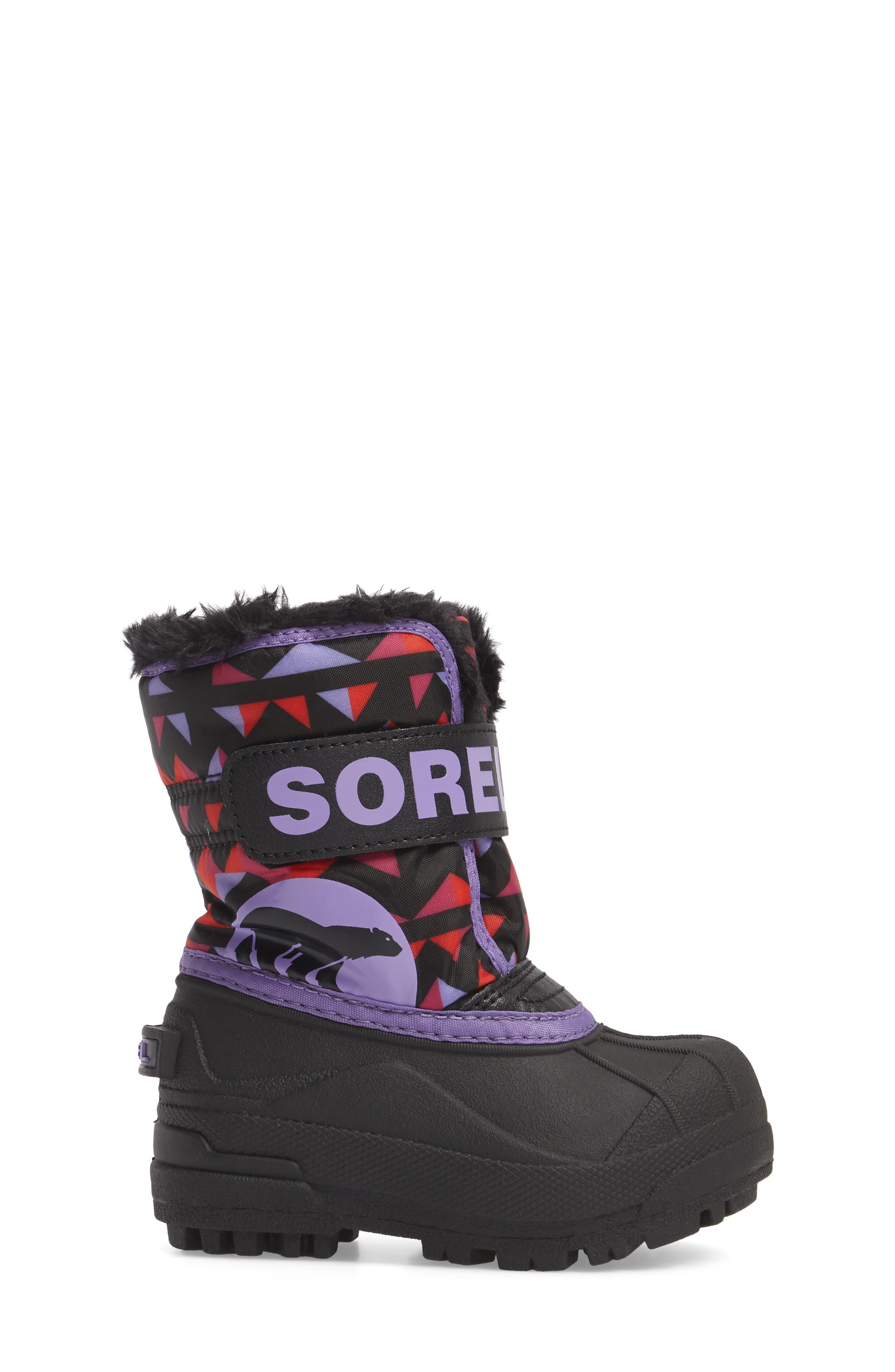 Children's Snow Commander Insulated Waterproof Boot,                             Alternate thumbnail 3, color,                             Black/ Paisley Purple