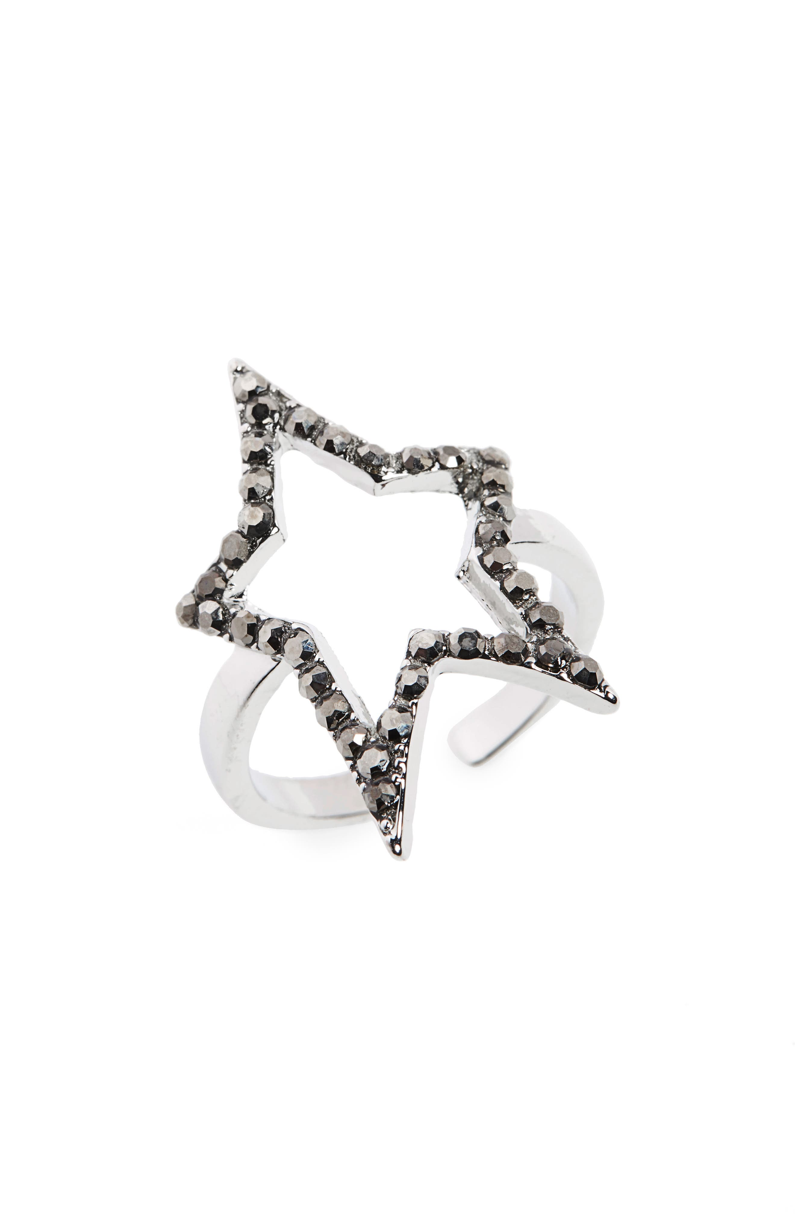 Open Star Ring,                         Main,                         color, Silver/ Hematite