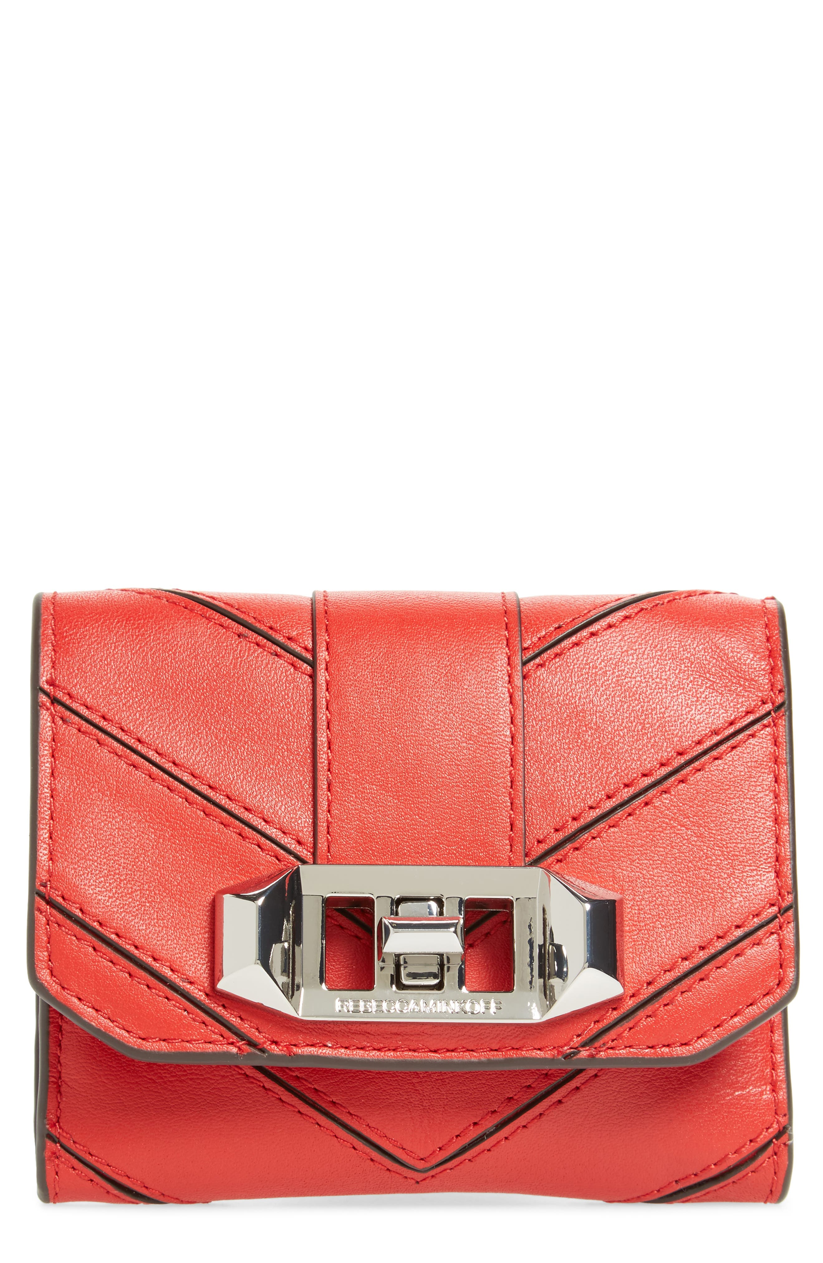 Love Lock Leather Wallet,                         Main,                         color, Carnation Red