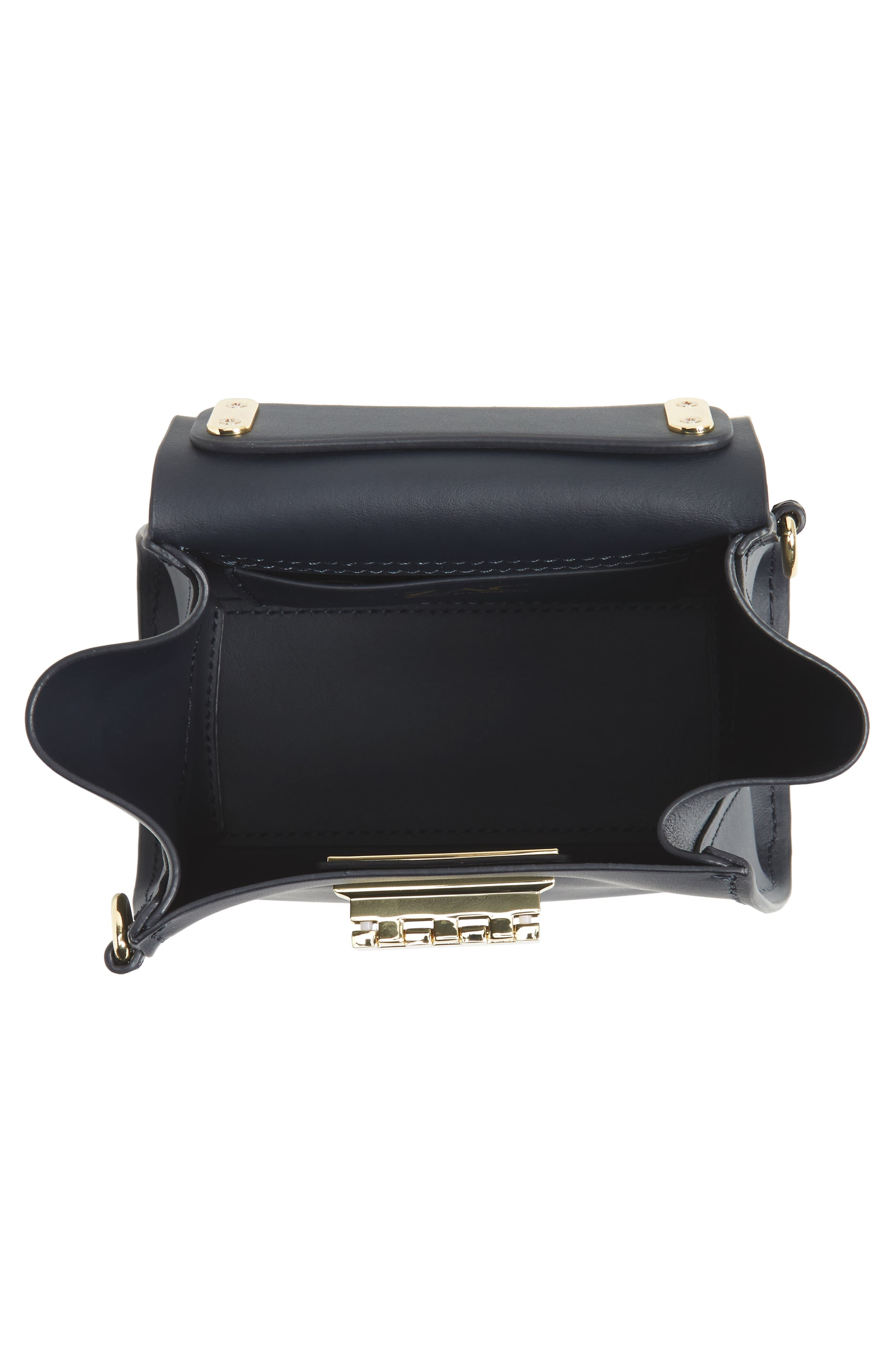Eartha Iconic Leather Satchel with Genuine Mink Fur Strap,                             Alternate thumbnail 4, color,                             Navy