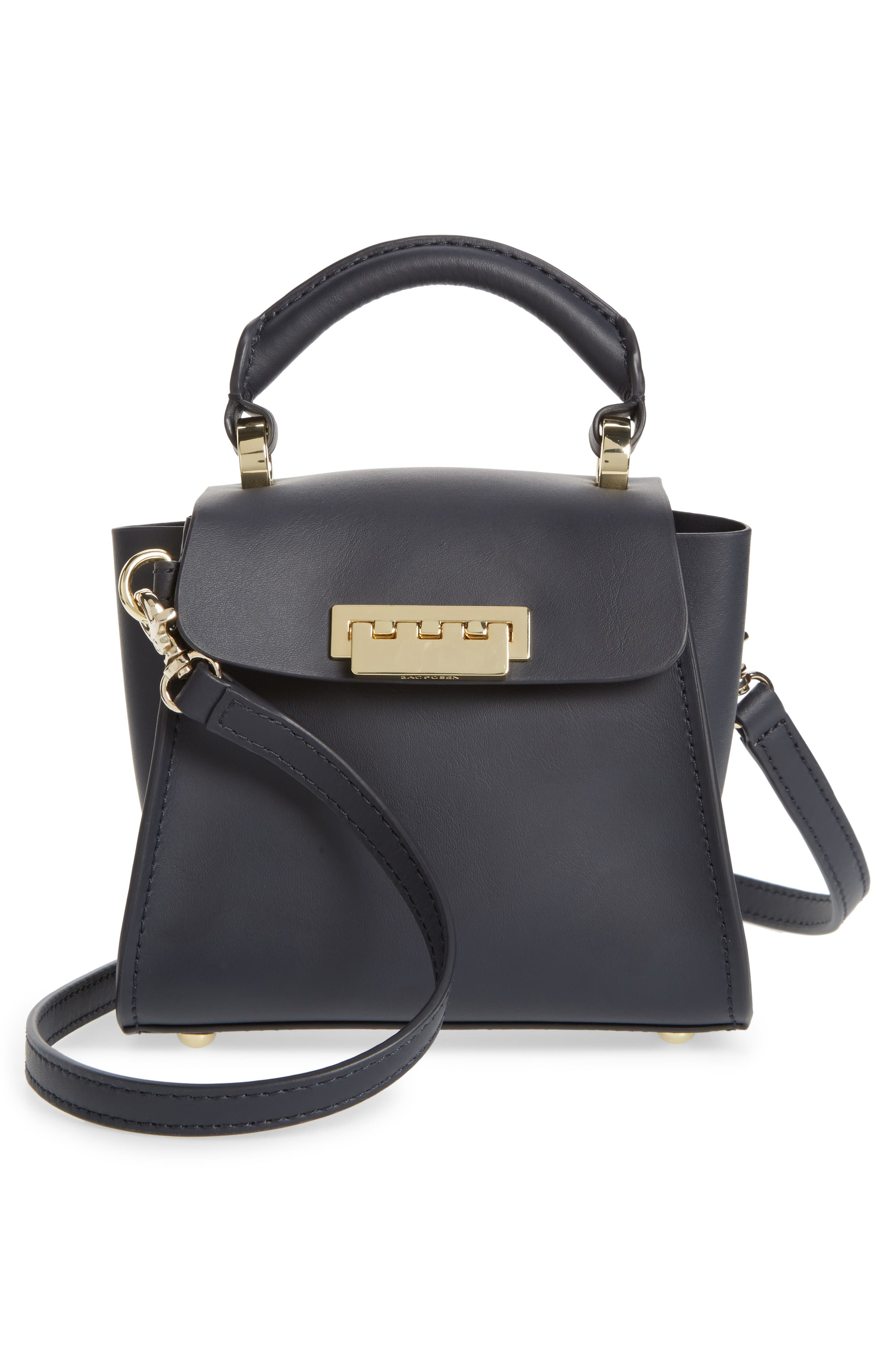 Eartha Iconic Leather Satchel with Genuine Mink Fur Strap,                             Alternate thumbnail 7, color,                             Navy