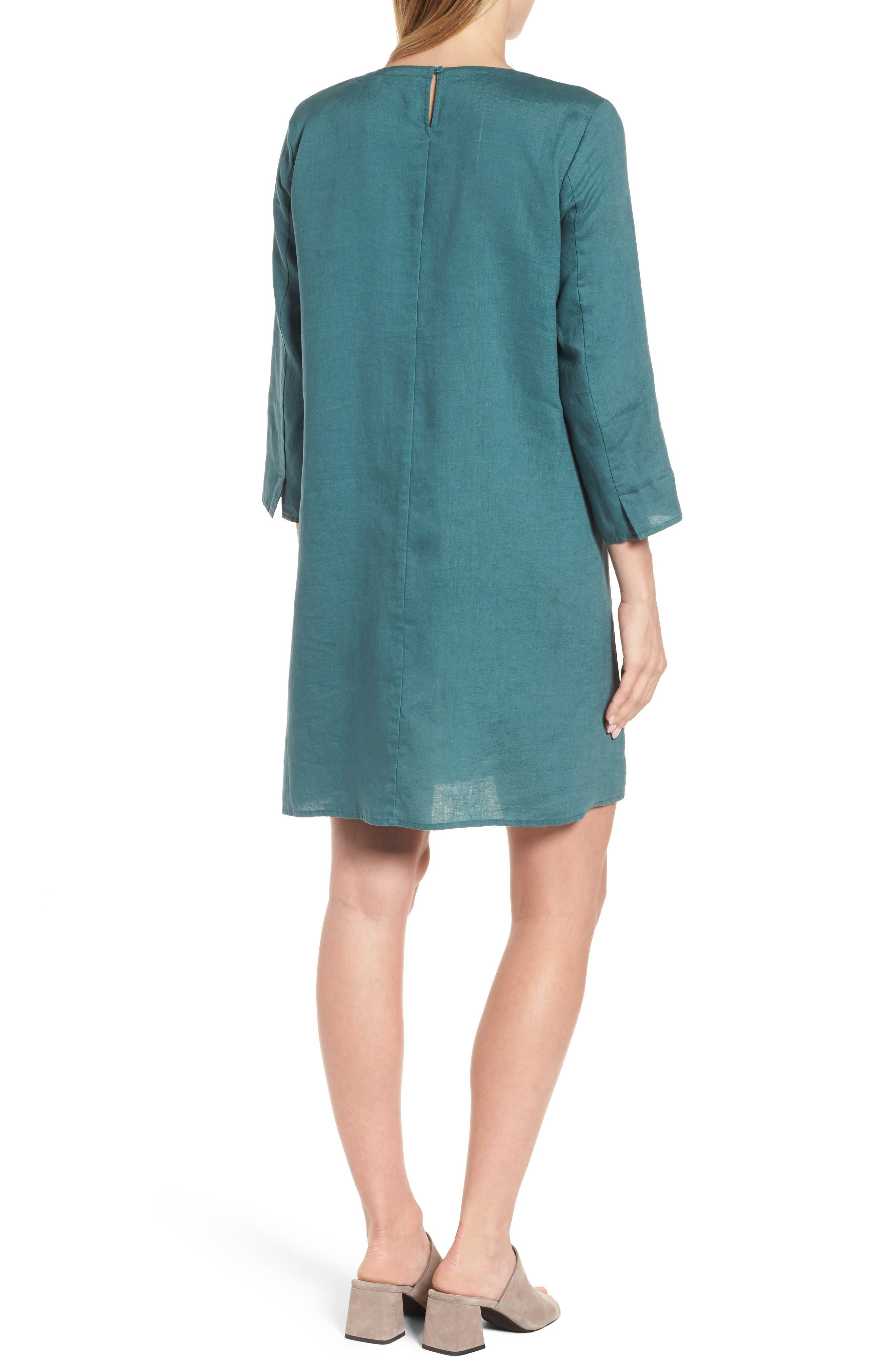 Organic Linen Round Neck Shift Dress,                             Alternate thumbnail 2, color,                             Dragonfly
