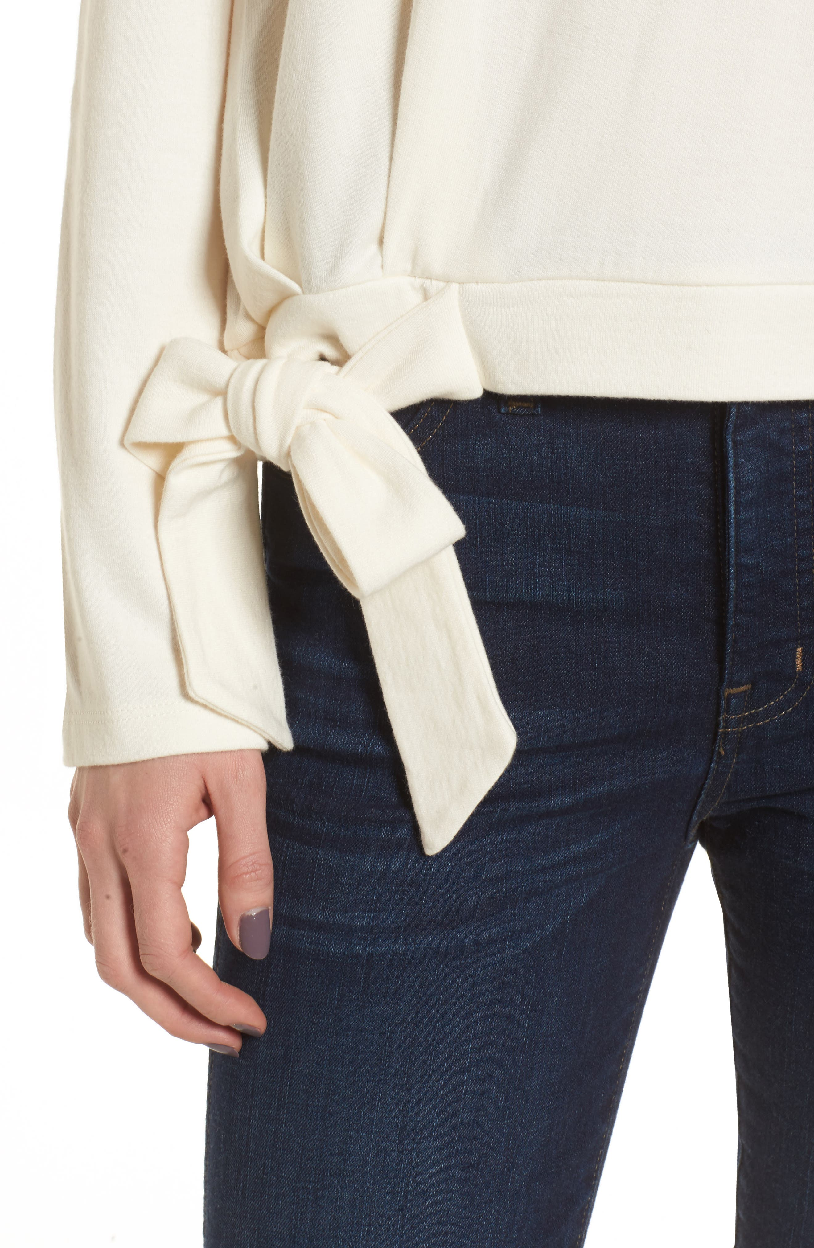 Side Tie Top,                             Alternate thumbnail 4, color,                             Bright Ivory