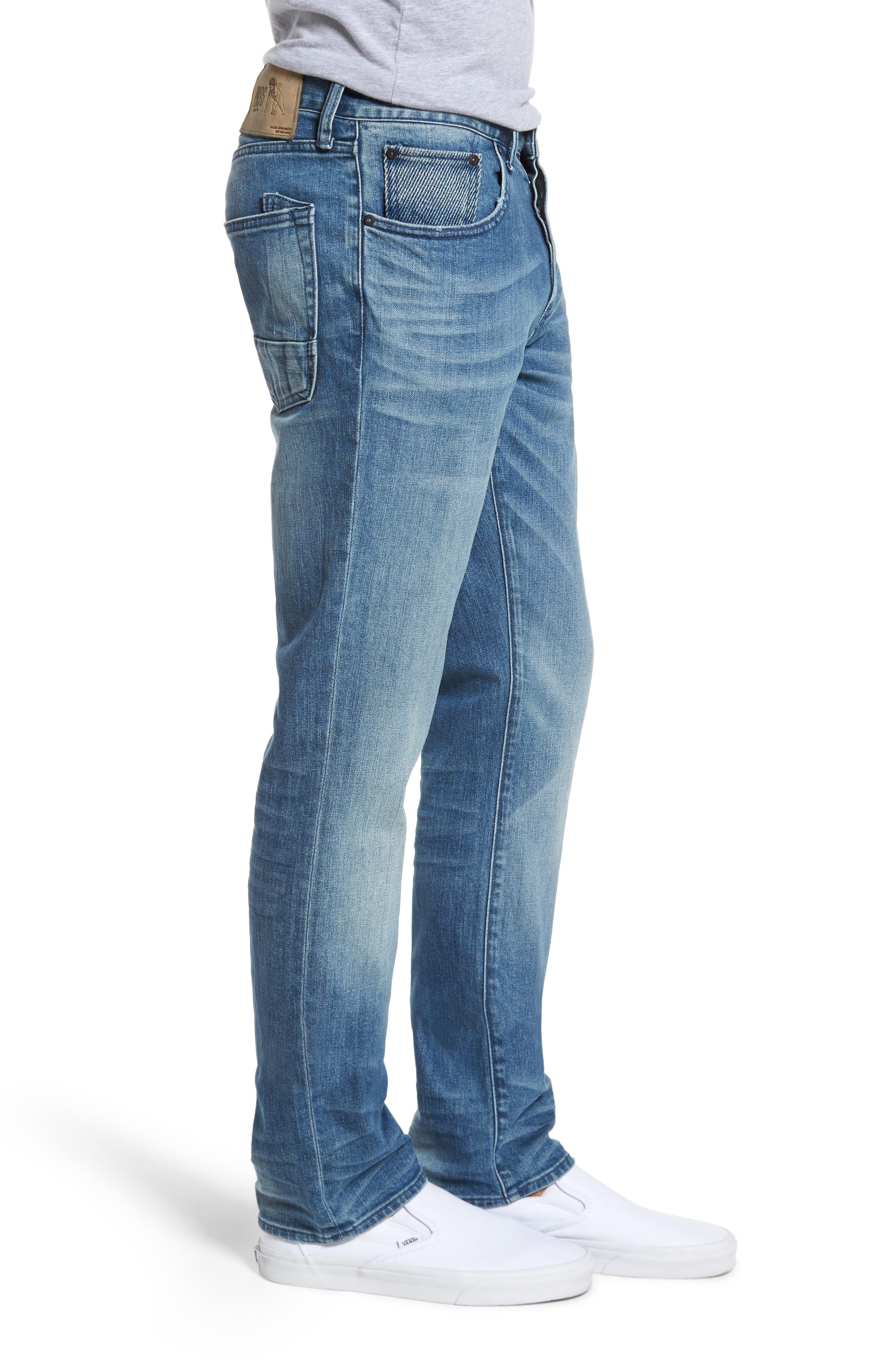 Denim Slim Straight Leg Jeans,                             Alternate thumbnail 3, color,                             Light Blue