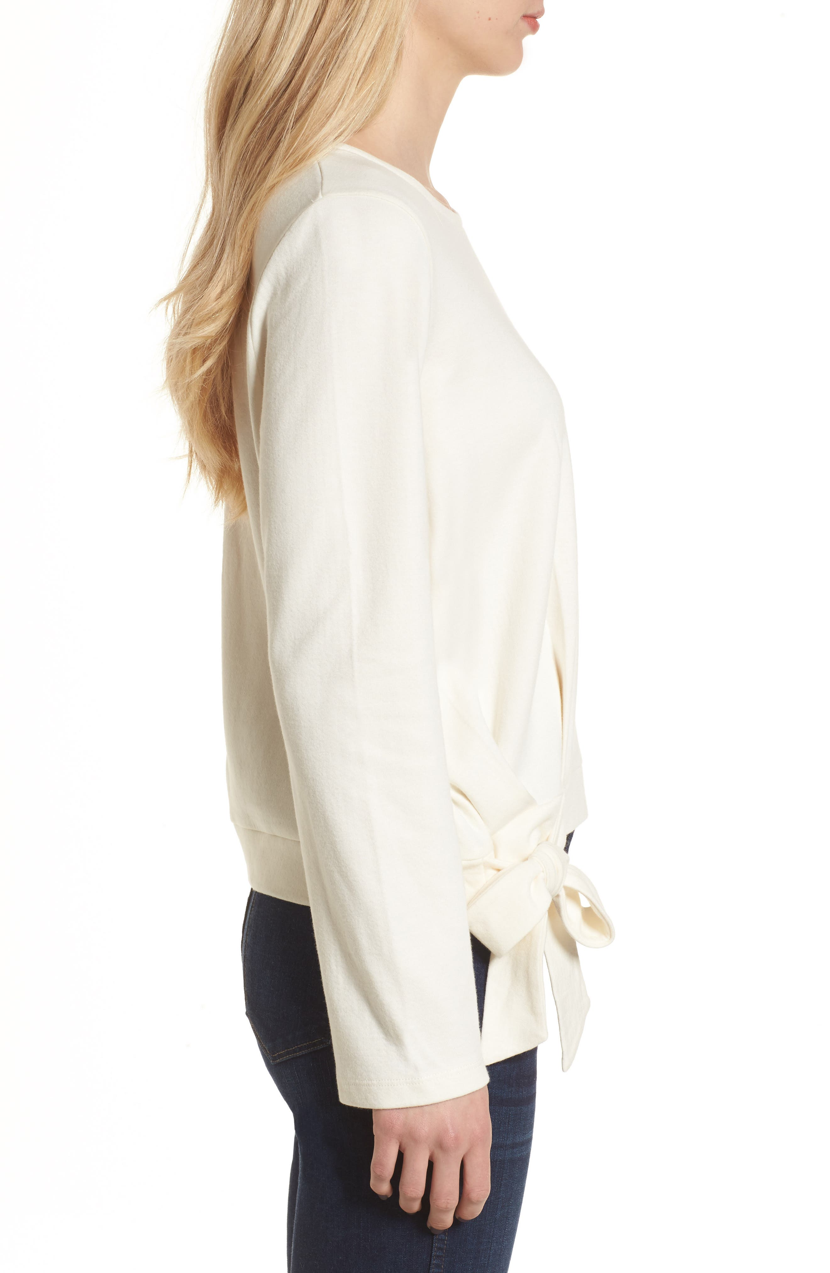 Side Tie Top,                             Alternate thumbnail 5, color,                             Bright Ivory