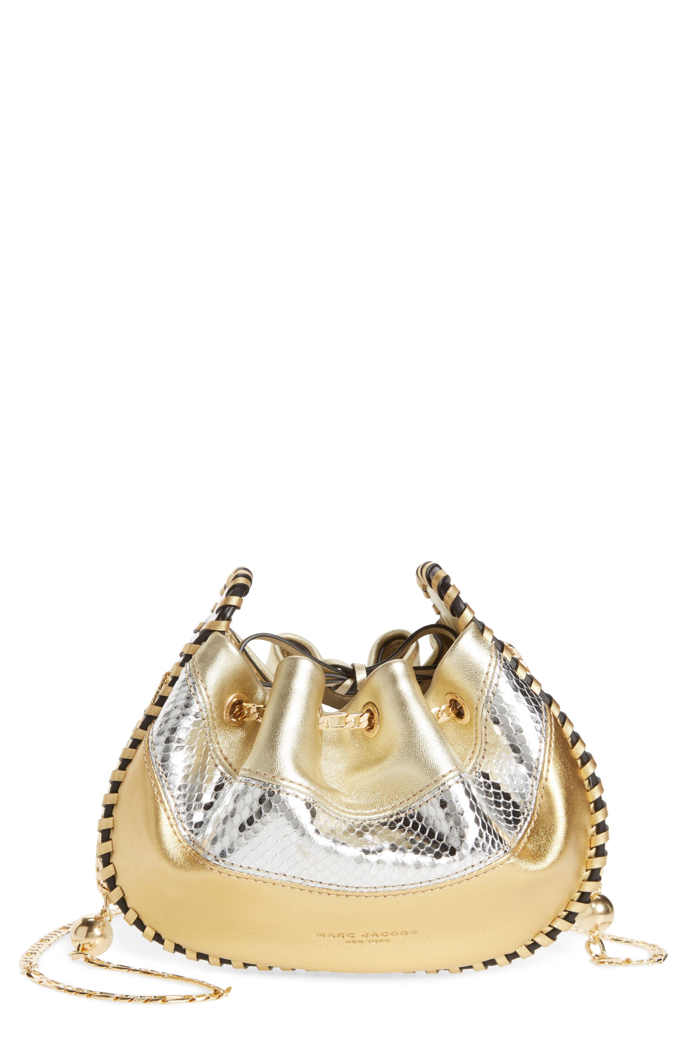 Sway Metallic Leather Crossbody Bag,                         Main,                         color, Gold